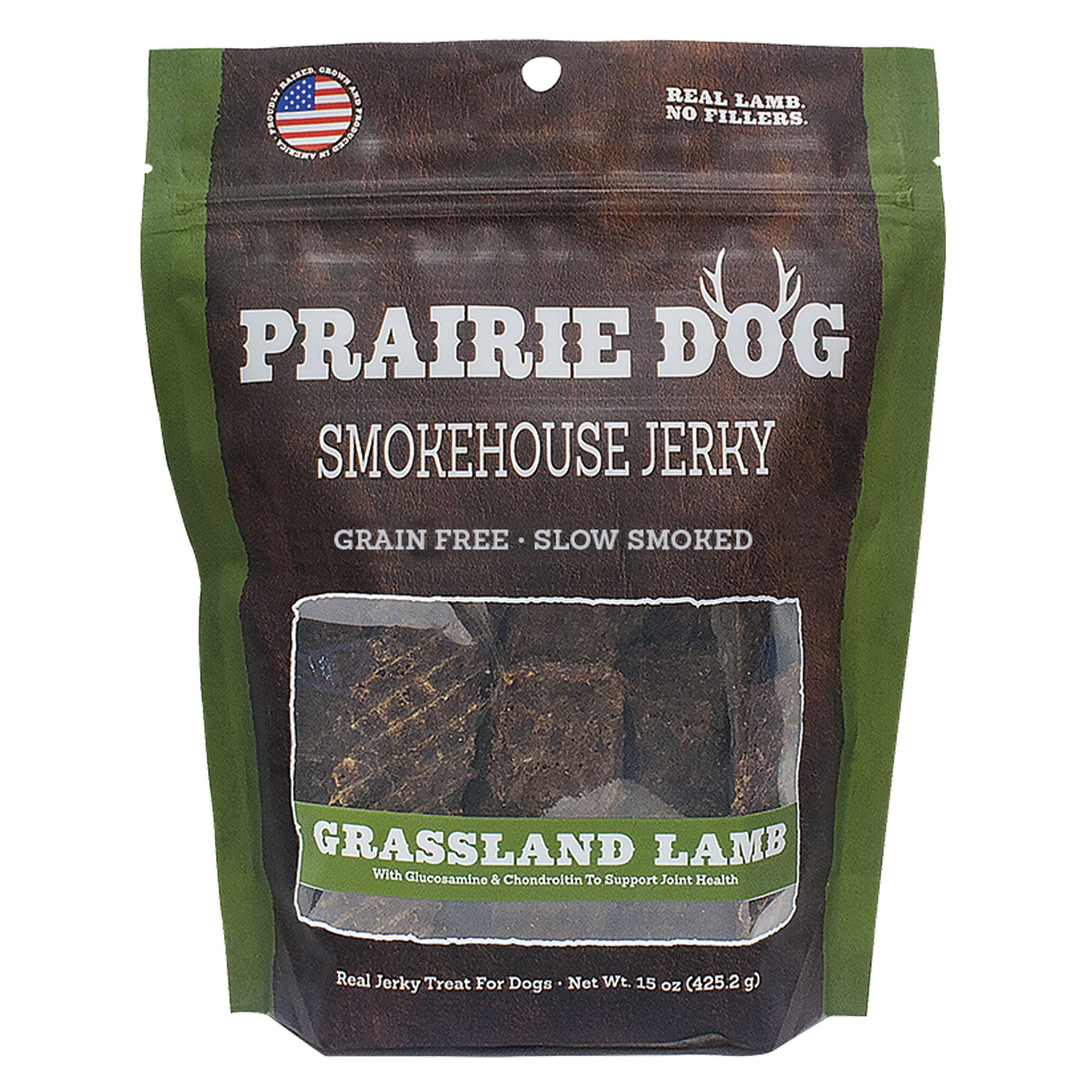 Prairie Dog Smokehouse Jerky Dog Treat Natural Grain Free Grassland Lamb Size 15 Oz