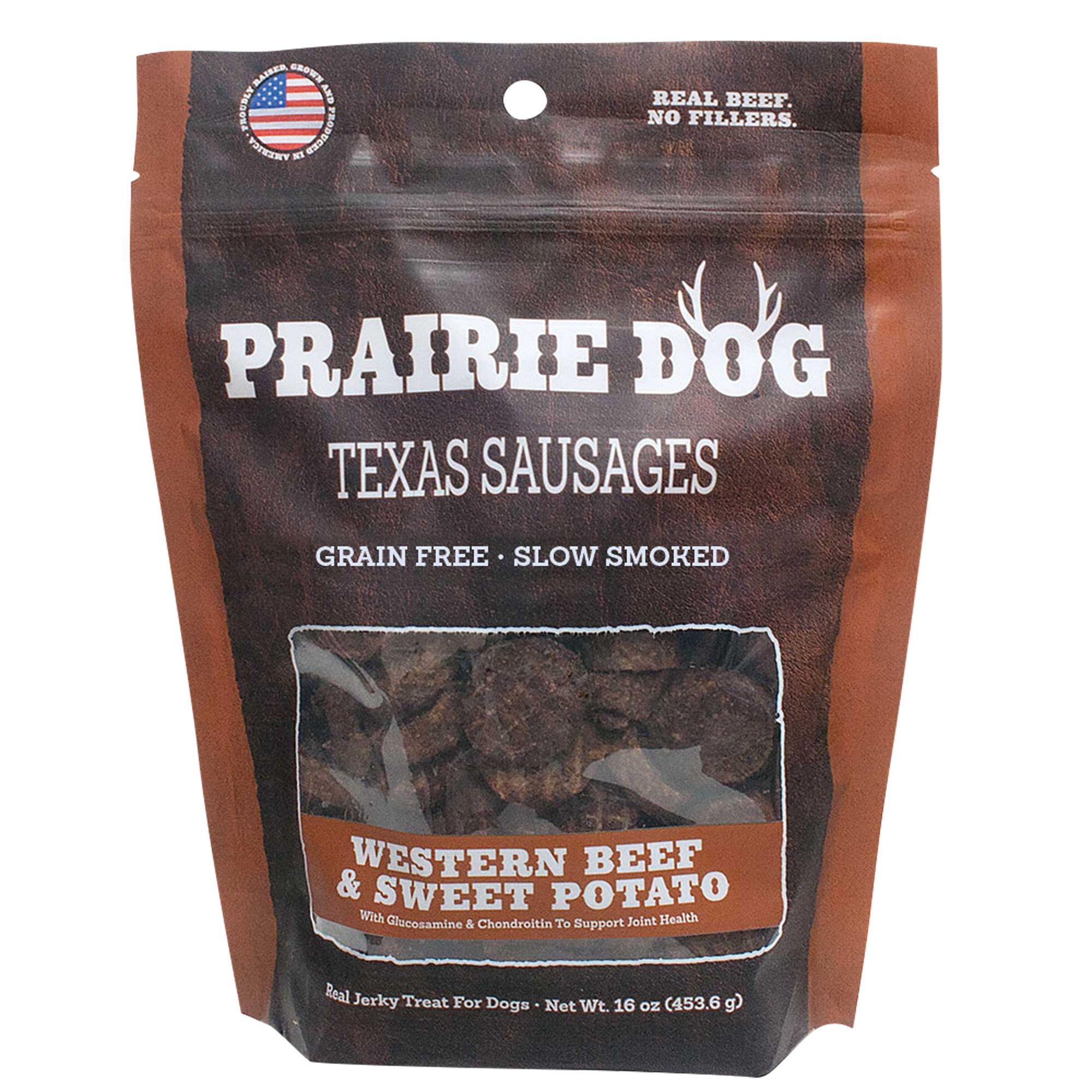 Prairie Dog Texas Sausages Dog Treat Natural Grain Free Western Beef And Sweet Potato Size 16 Oz