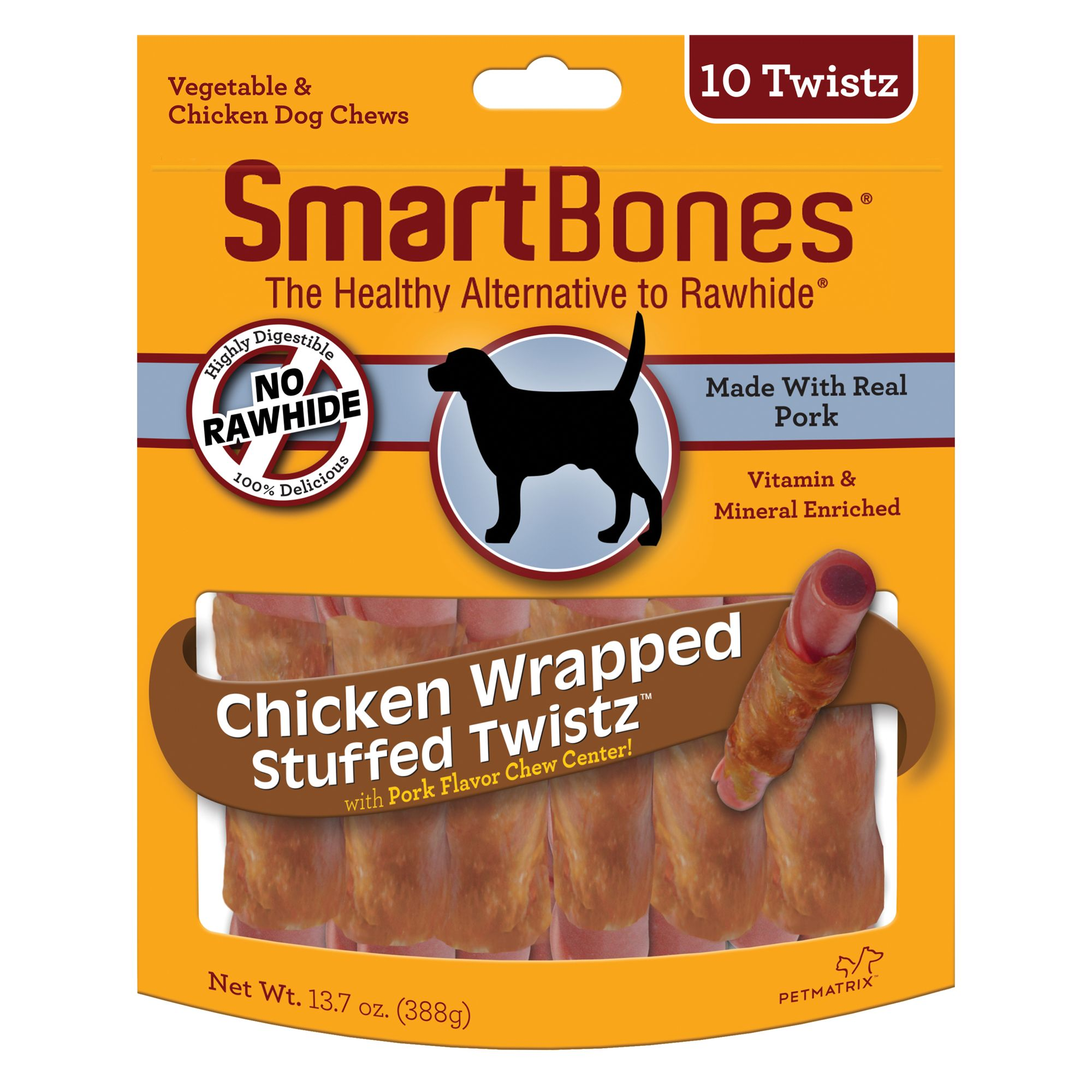 Smartbones Chicken Wrapped Stuffed Twistz With Pork Dog Treat Size 10 Count