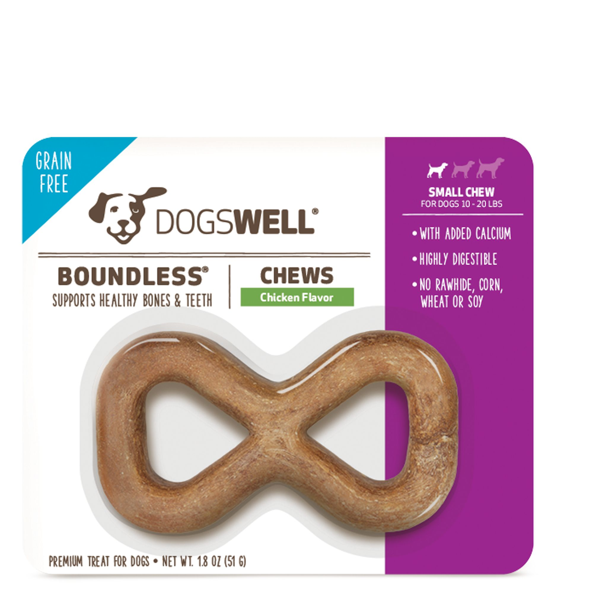 Dogswell Boundless Small Dog Chew Treat Grain Free Chicken
