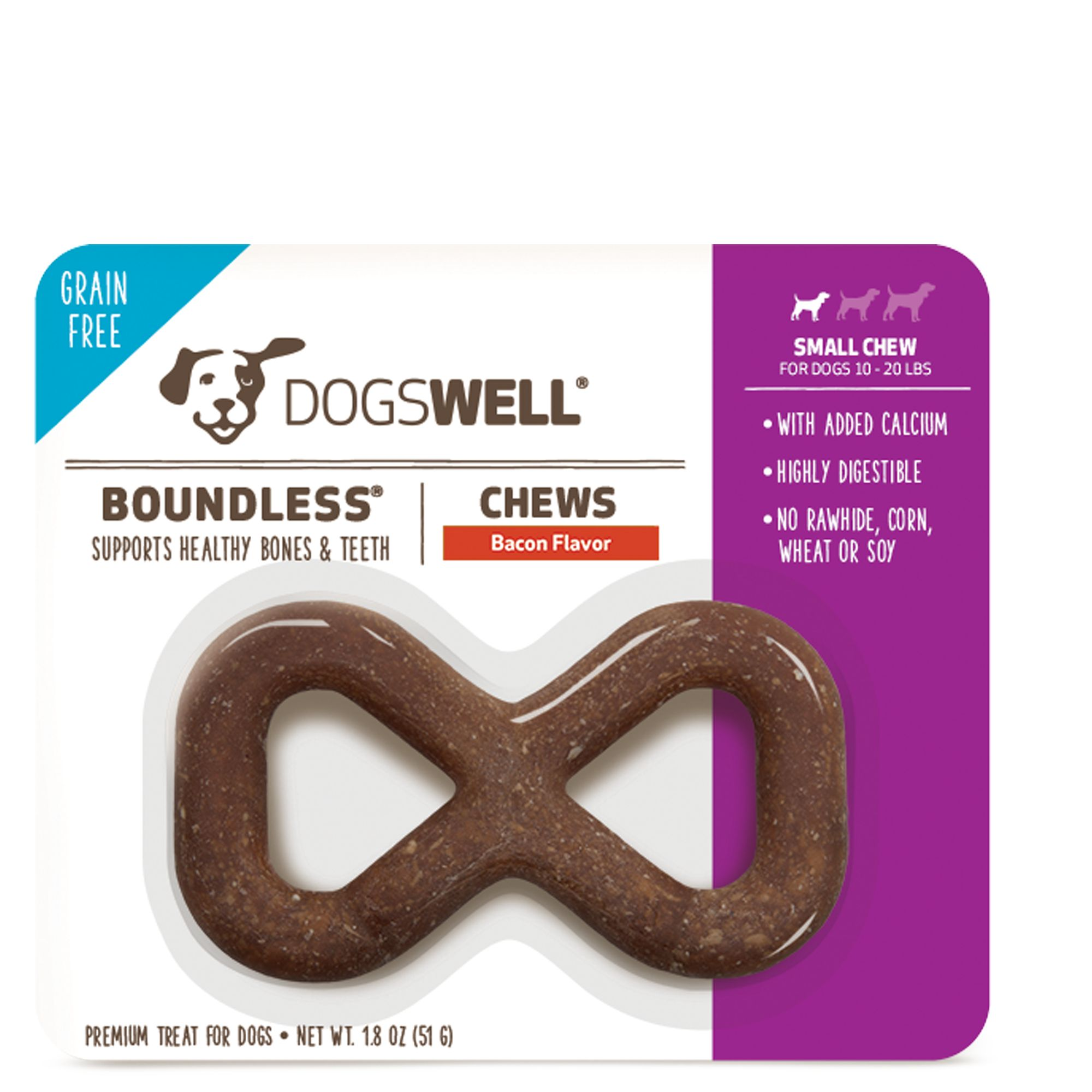 Dogswell Boundless Small Dog Chew Treat Grain Free Bacon