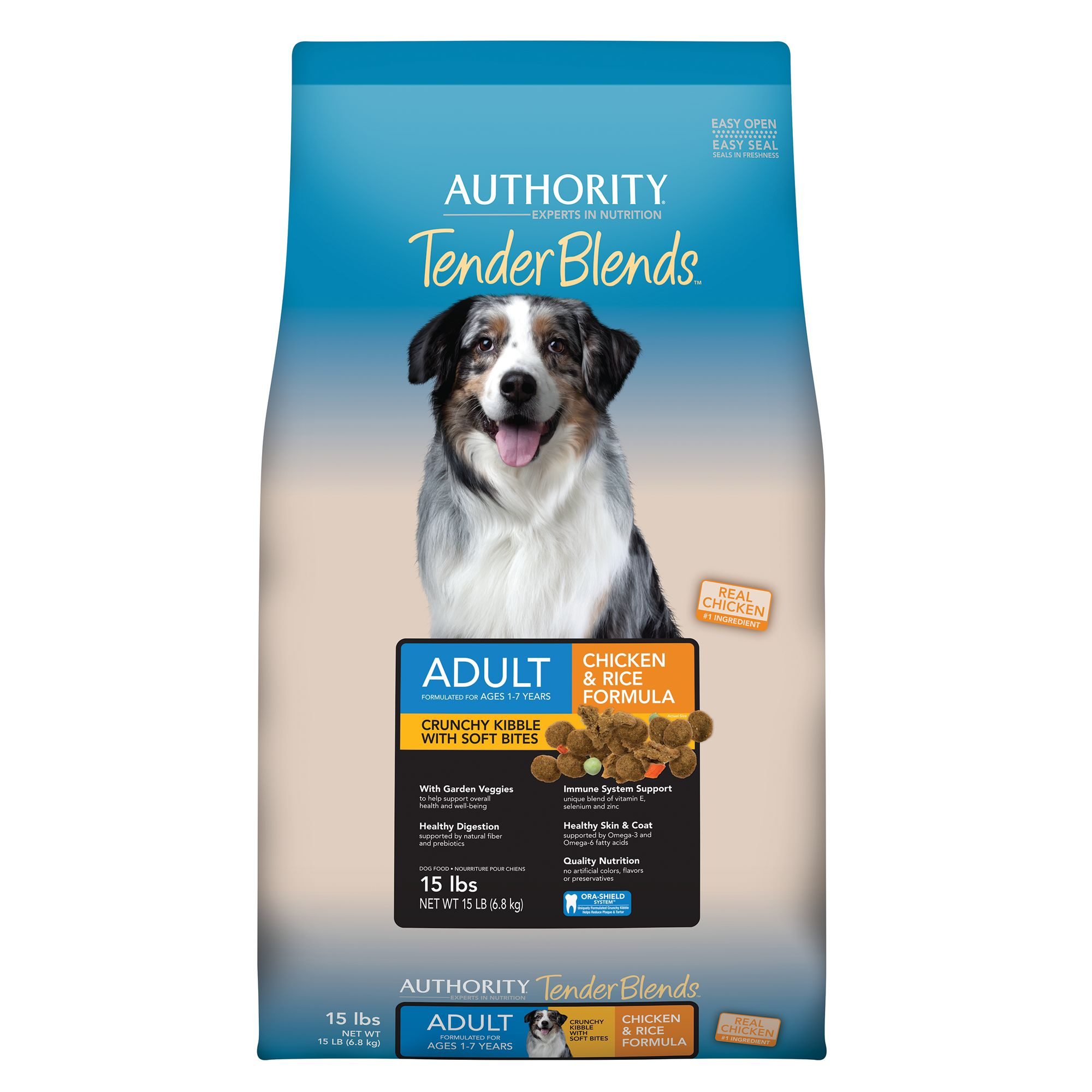Authority® Tender Blends Adult Dog Food - Chicken and Rice size: 15 Lb