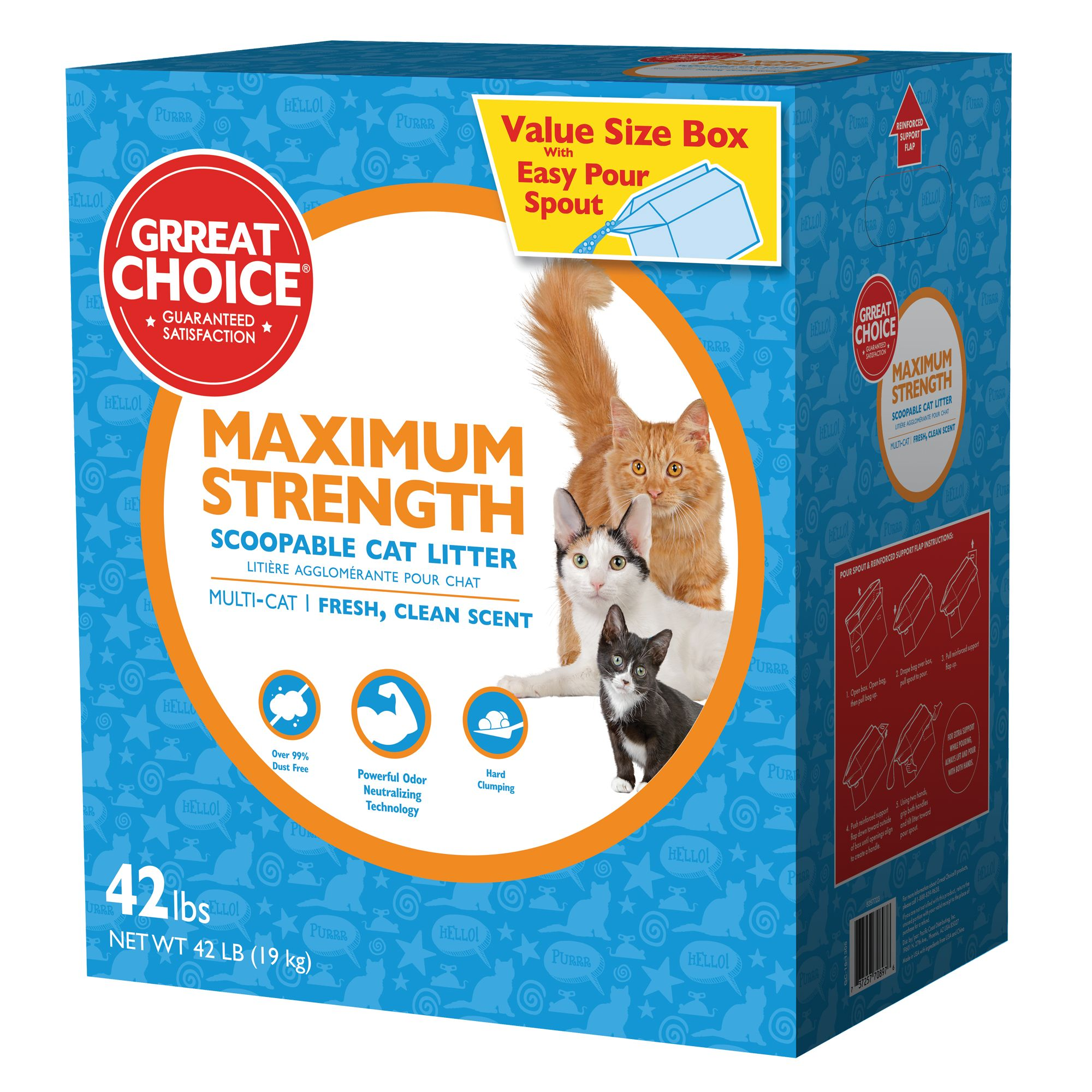 Grreat Choice Maximum Strength Cat Litter - Scoopable, Multi-Cat, Fresh Scent size: 42 Lb 5257723