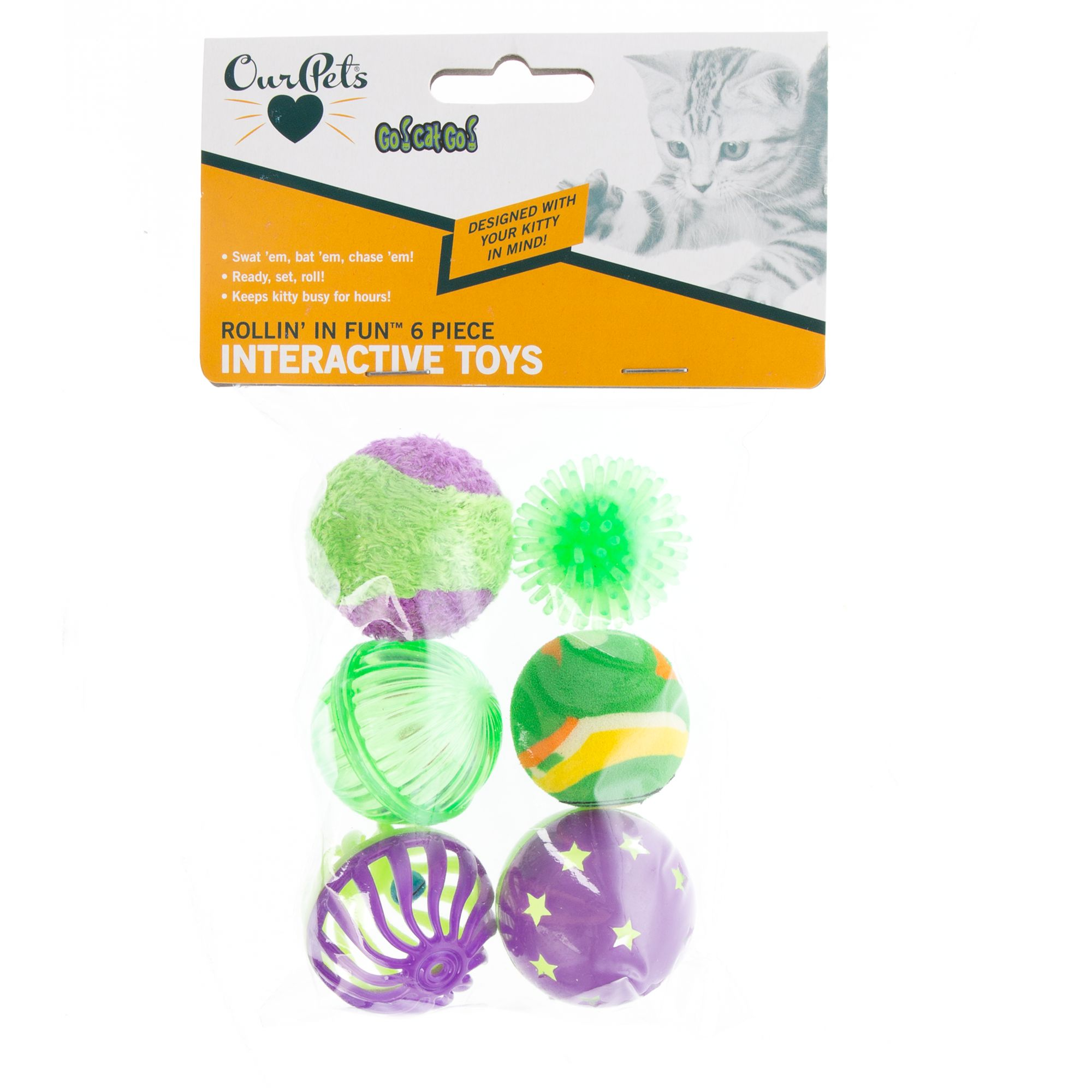 OurPets Rollin' N Fun 6 Pack Cat Toy, OurPet's 5257918