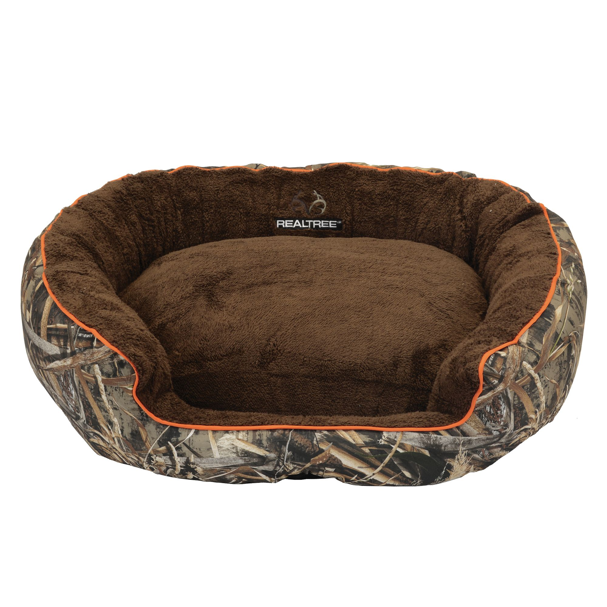 Realtree Camo Bolster Dog Bed Orange