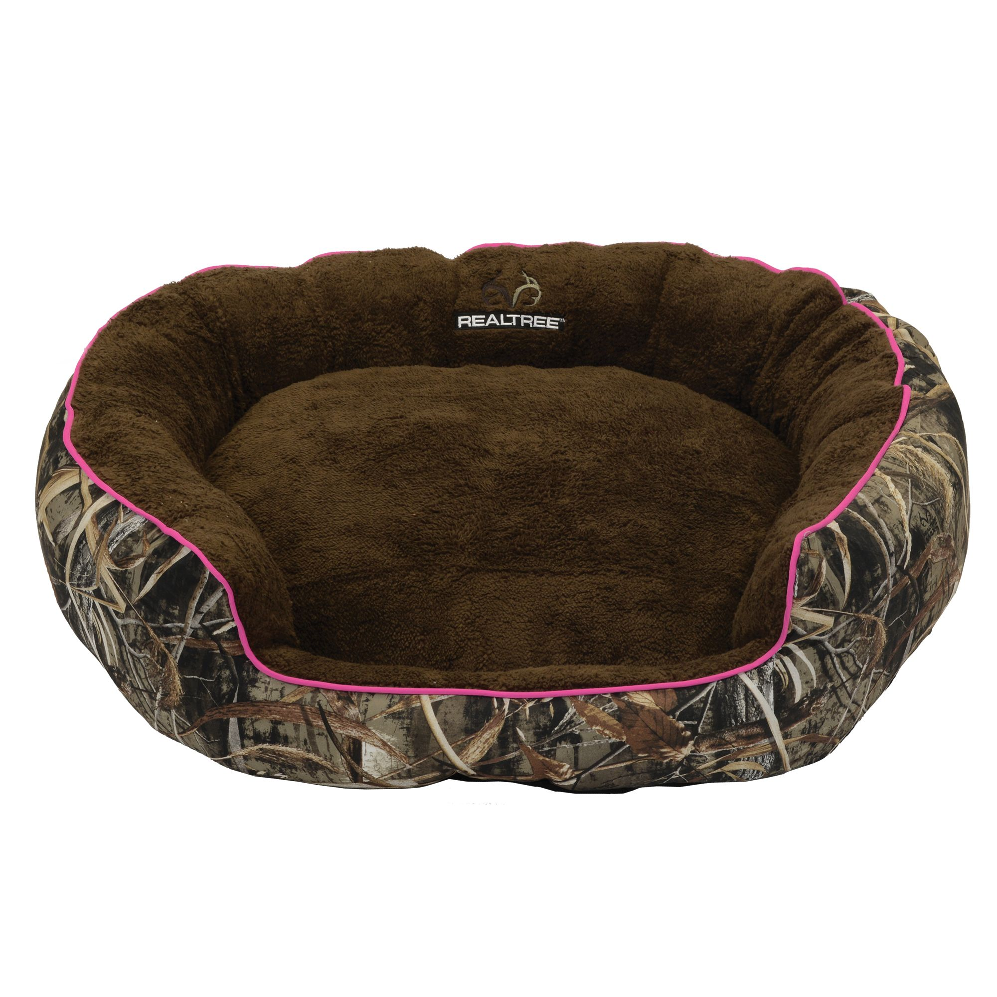 Realtree Camo Bolster Dog Bed Pink