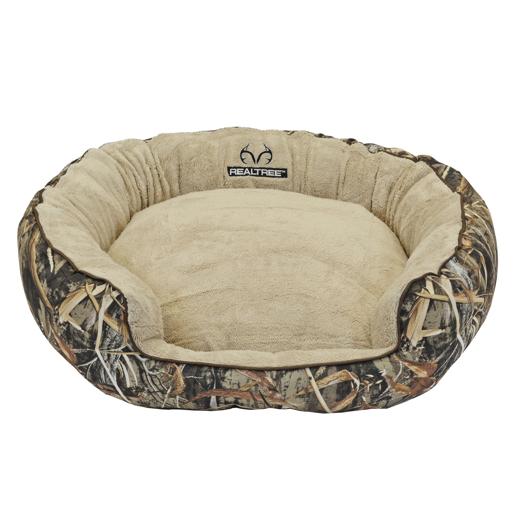 Realtree Camo Bolster Dog Bed Brown