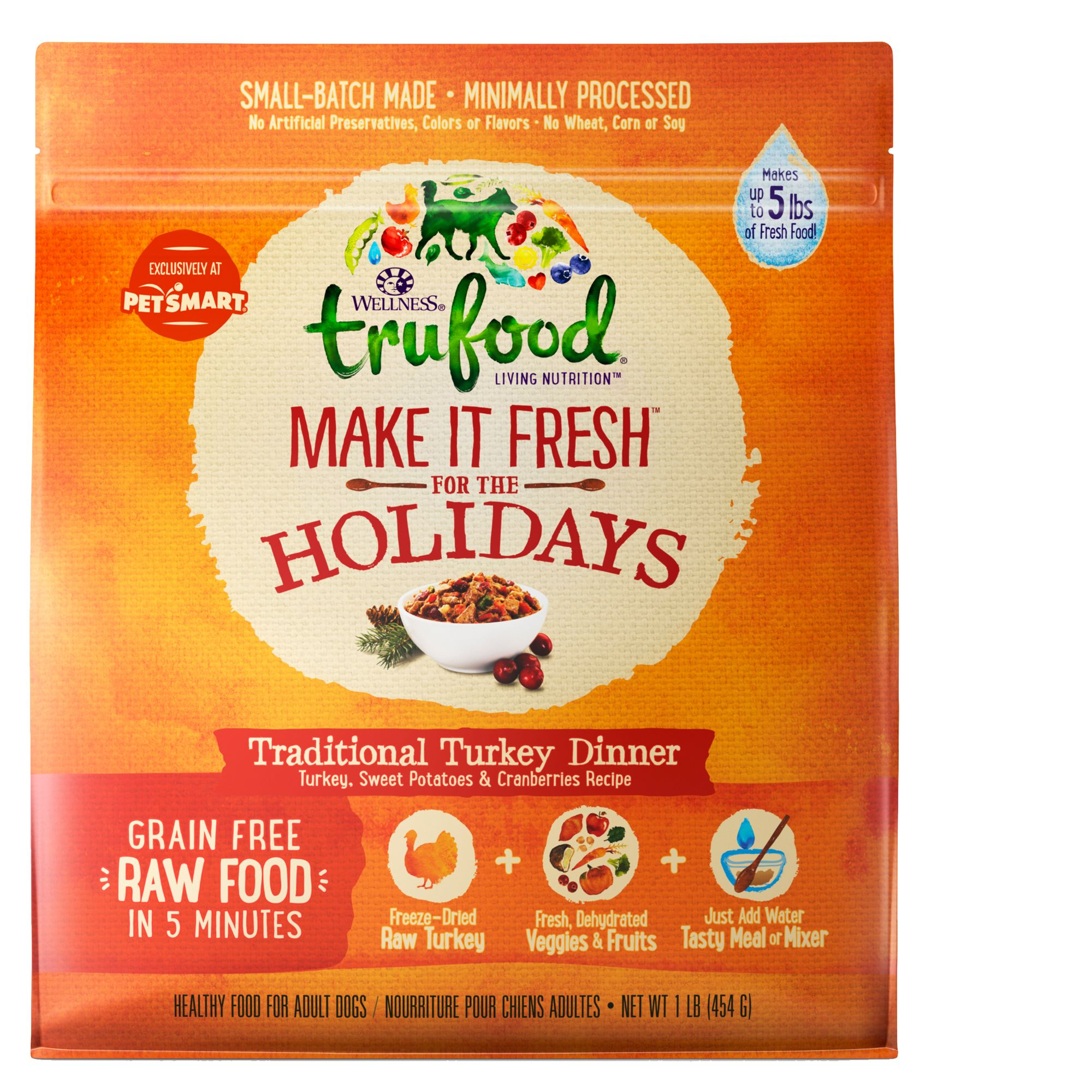 Wellness® TruFood® Make It Fresh For the Holidays Dog Food - Natural, Grain Free, Turkey Dinner size: 1 Lb 5258305