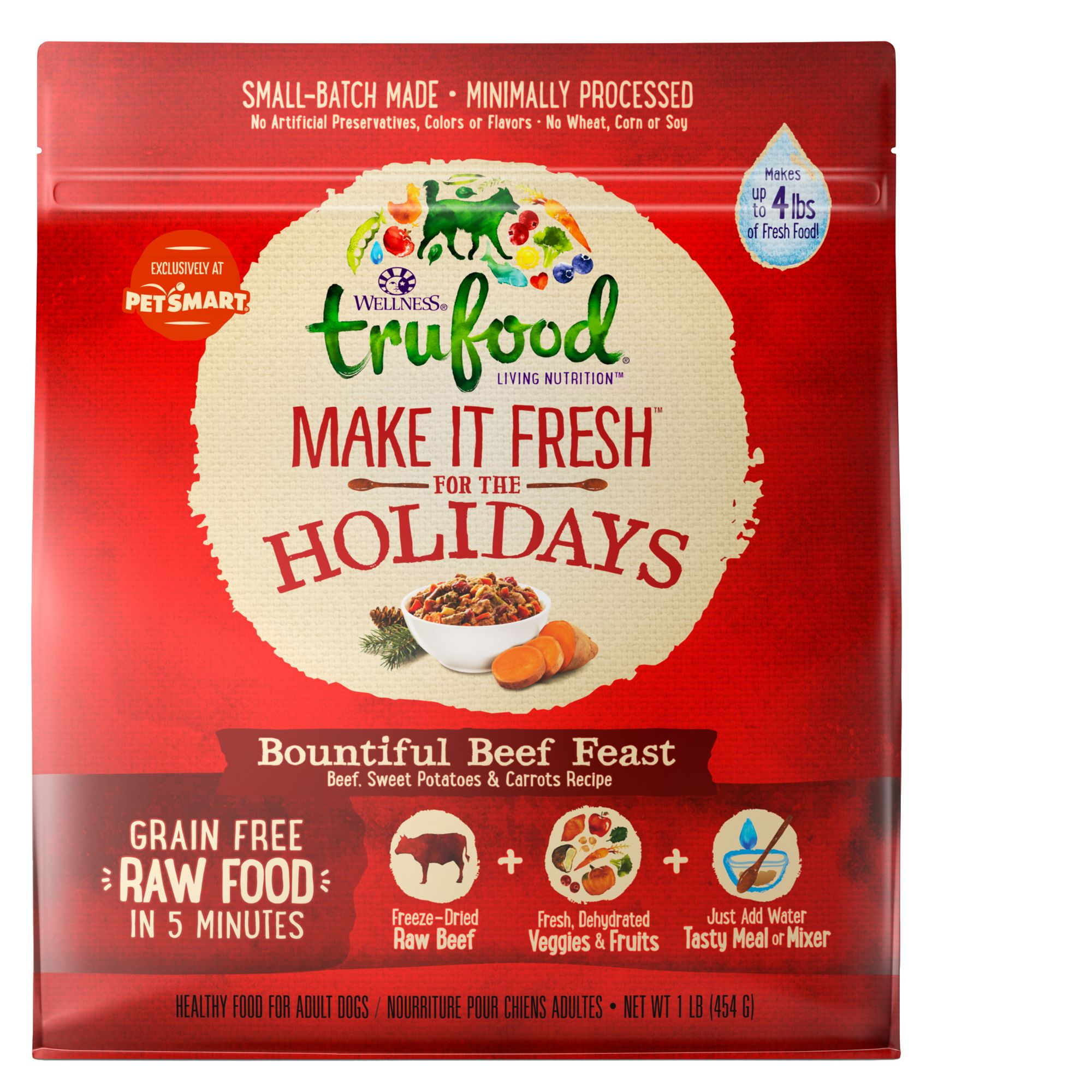 Wellness TruFood Make It Fresh For the Holidays Dog Food - Natural, Grain Free, Beef Dinner size: 1 Lb 5258306