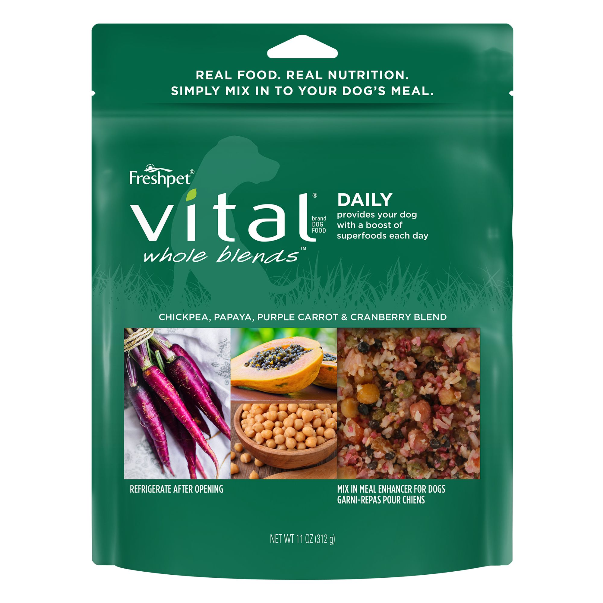 Freshpet Vital Whole Blends Daily Dog Food Enhancer Chickpea Papaya And Carrot Size 11 Oz