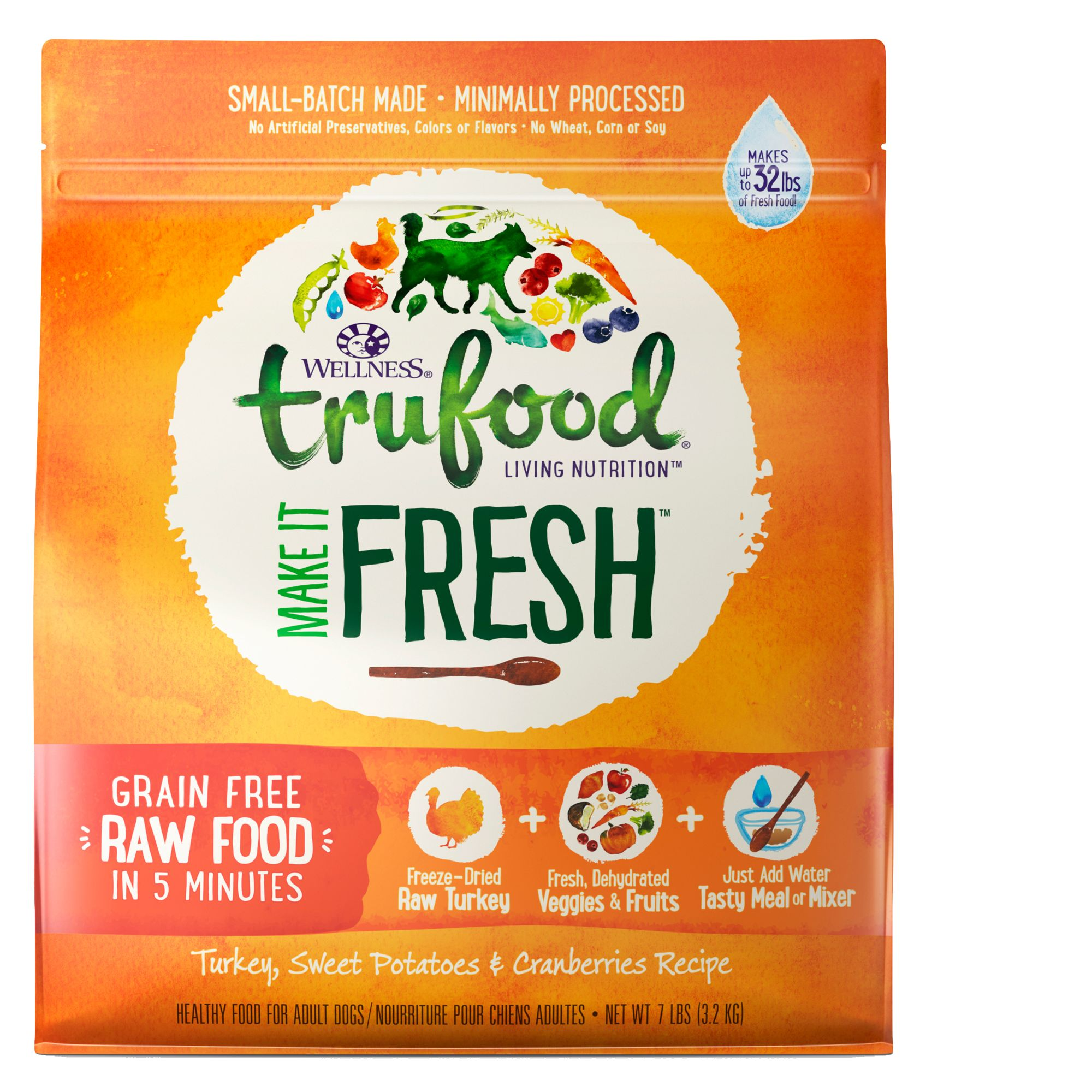 Wellness® TruFood® Make It Fresh Adult Dog Food - Grain Free, Raw, Turkey size: 7 Lb 5258454
