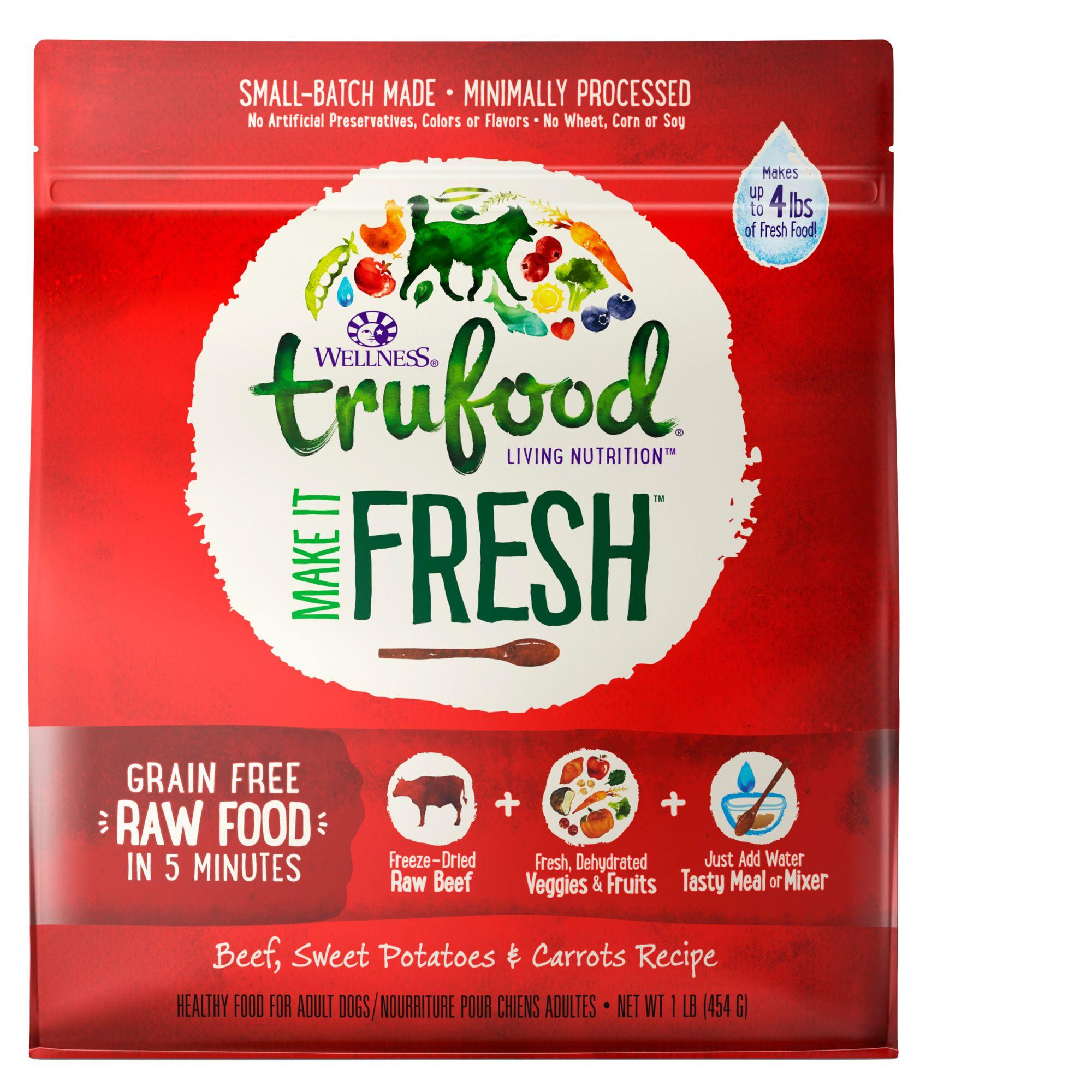 Wellness TruFood Make It Fresh Adult Dog Food - Grain Free, Raw, Beef size: 1 Lb, Rehydrateable 5258467