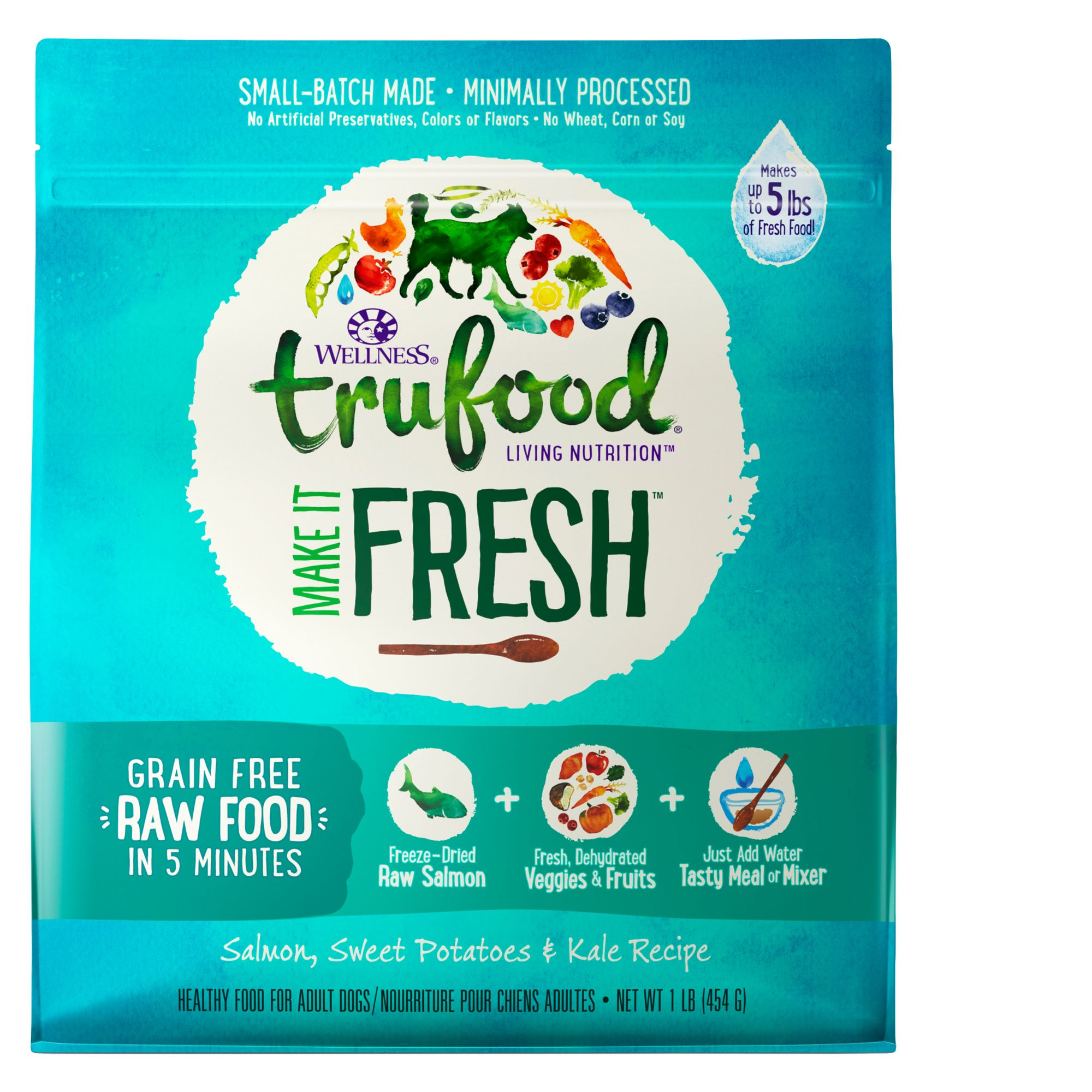 Wellness TruFood Make It Fresh Adult Dog Food - Grain Free, Raw, Salmon size: 1 Lb 5258471