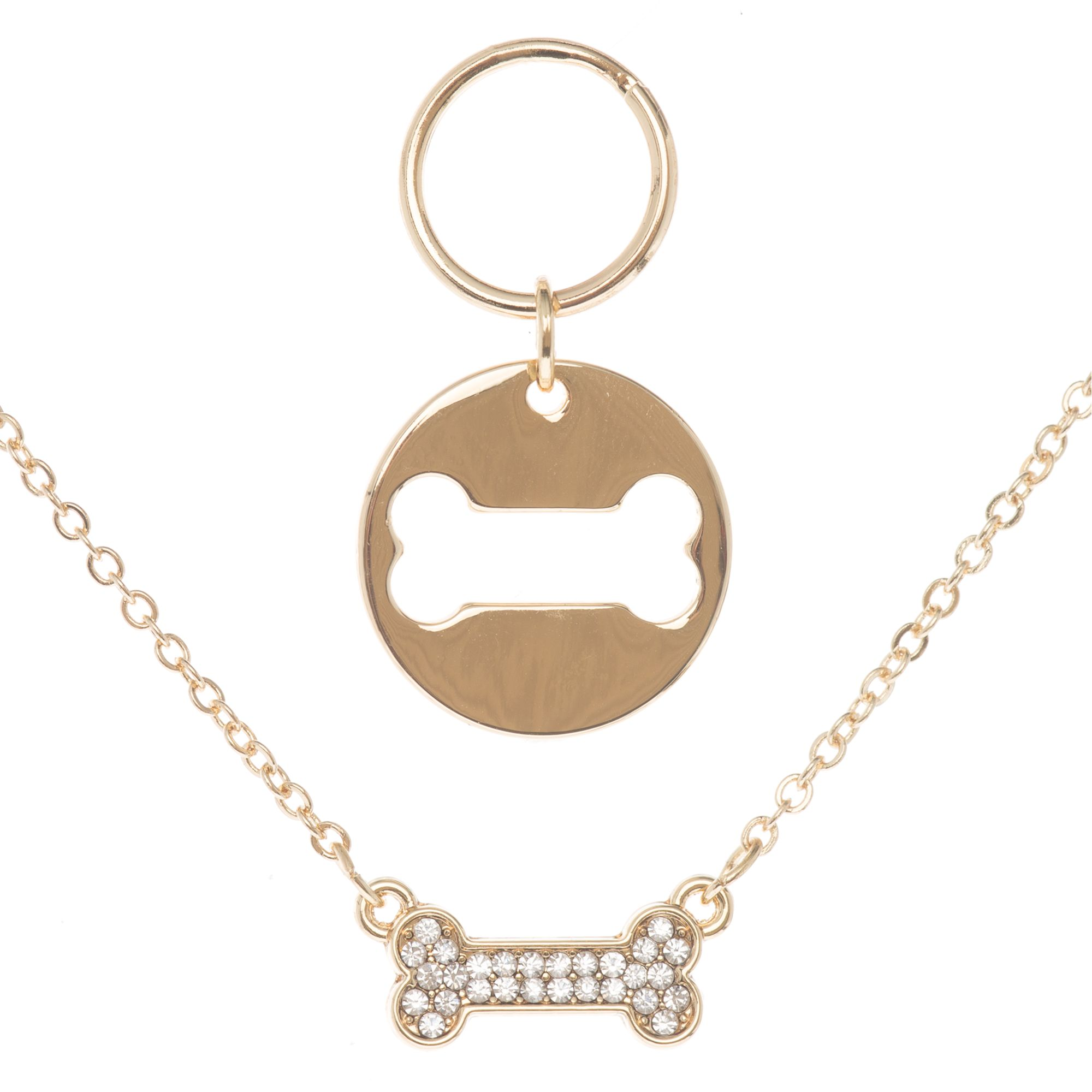 Pet Friends Bone Charmed Pendant Necklace Girls Gold
