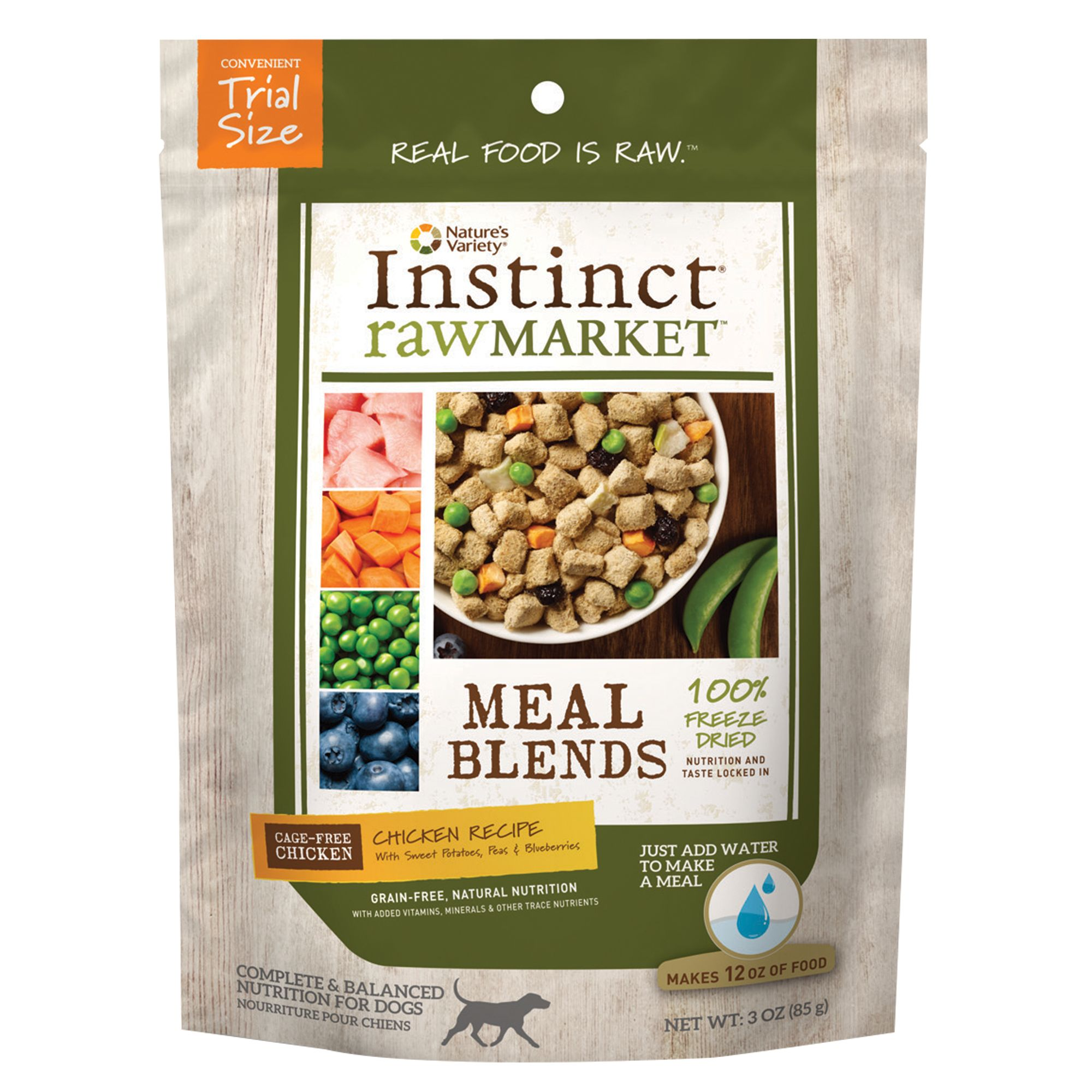 Nature's Variety® Instinct® Raw Market Meal Blends Dog Food - Grain Free, Freeze Dried, Chicken size: 3 Oz 5258781
