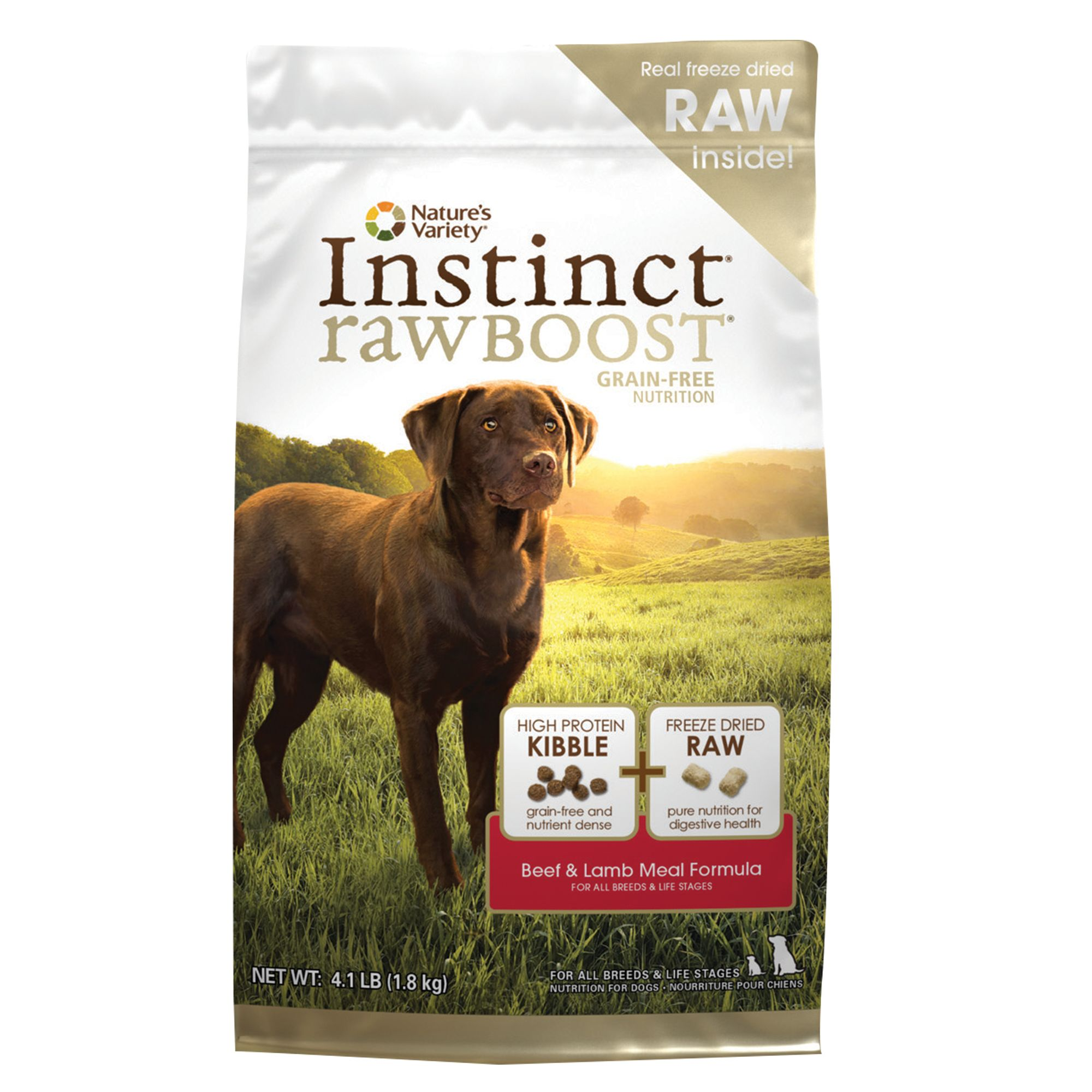 Natures Variety Instinct Raw Boost Dog Food Grain Free High Protein Beef And Lamb Meal Size 4.1 Lb