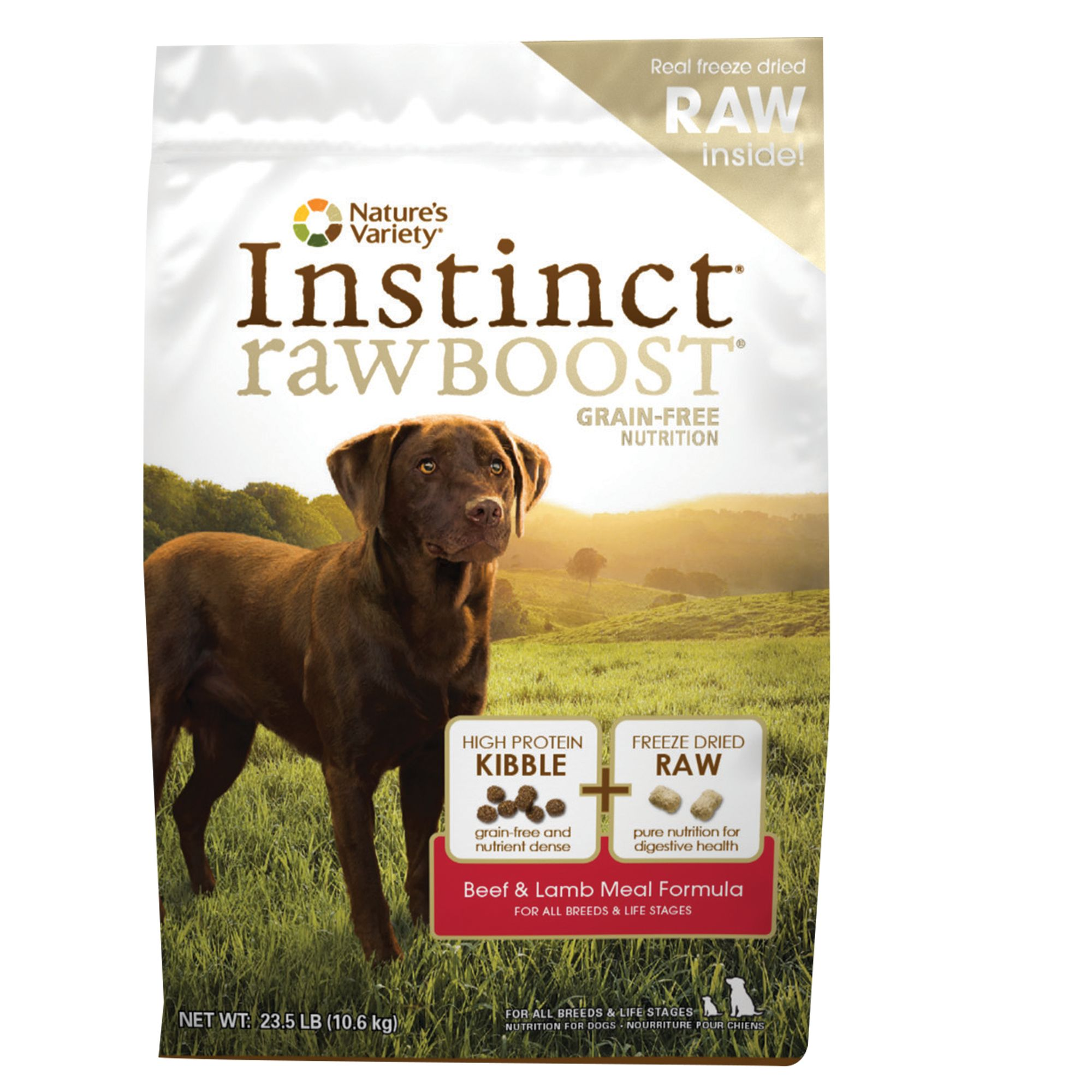 Natures Variety Instinct Raw Boost Dog Food Grain Free High Protein Beef And Lamb Meal Size 23.5 Lb
