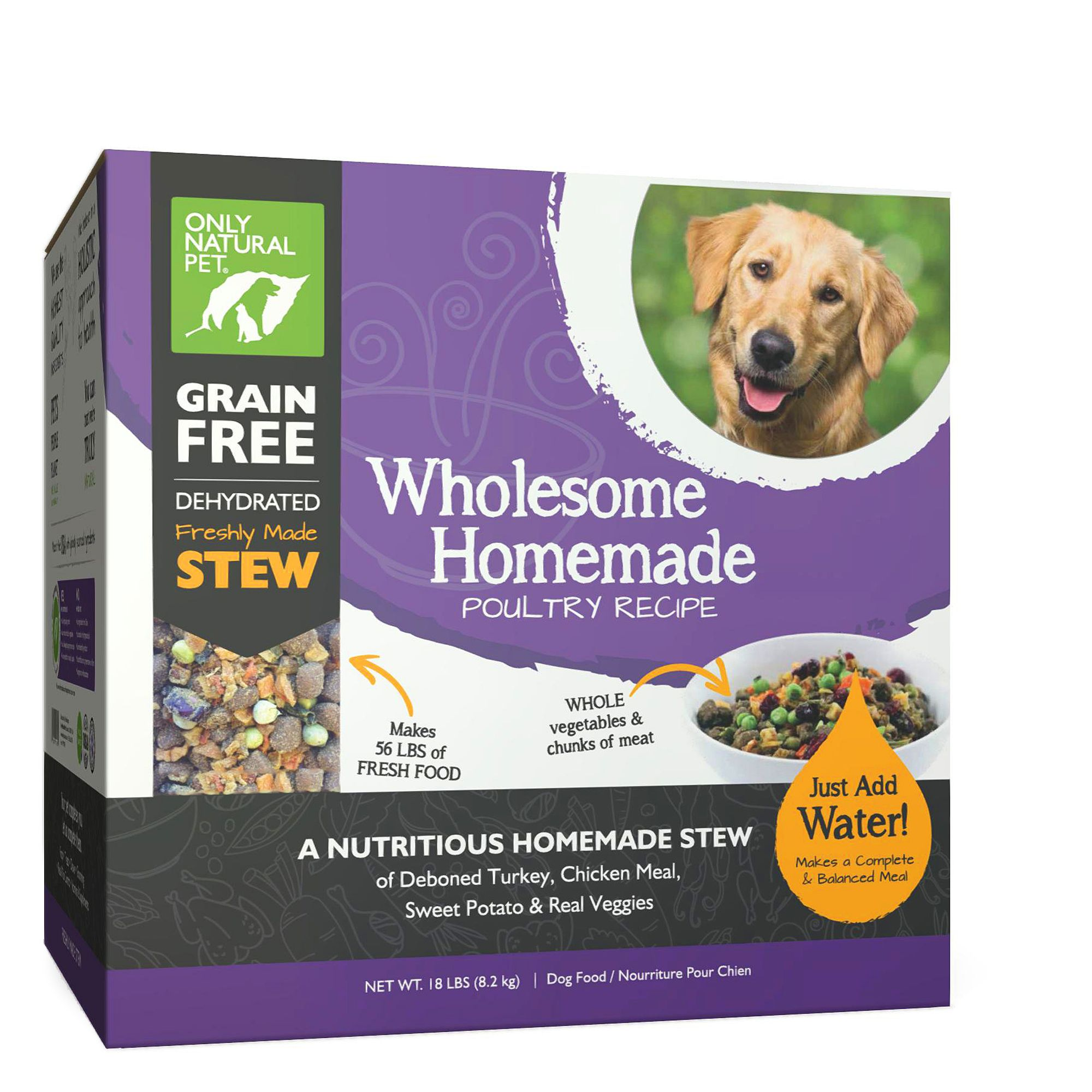 Only Natural Pet Wholesome Homemade Dog Food - Grain Free, Dehydrated, Poultry size: 18 Lb, Turkey, Chicken, Stew 5259851
