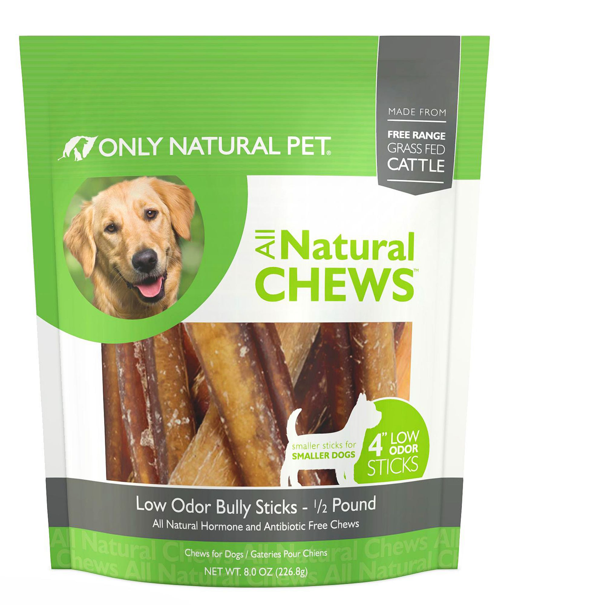 only natural pet all natural chews low ordor 4 bully sticks dog treat size 8 oz beef. Black Bedroom Furniture Sets. Home Design Ideas