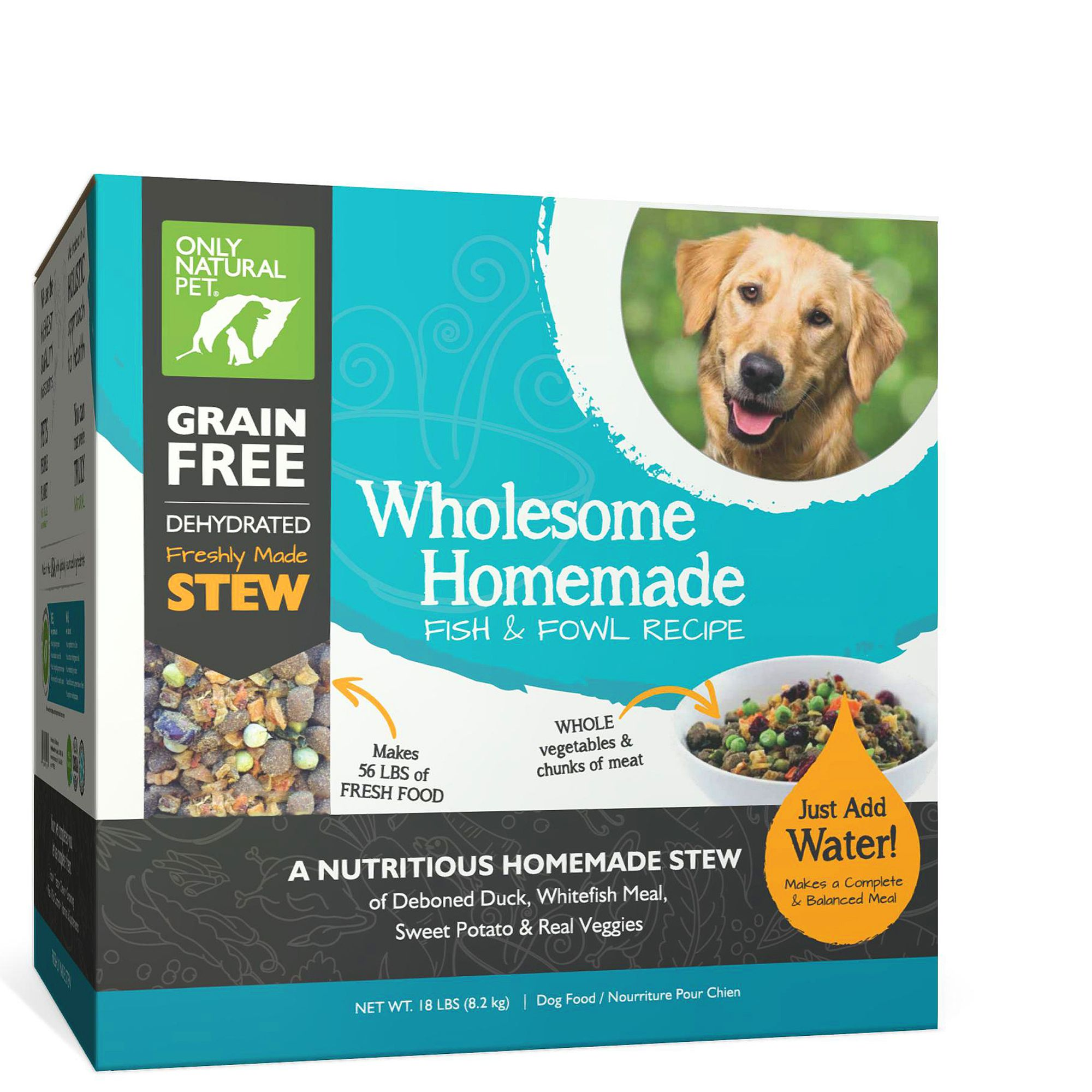 Only Natural Pet Wholesome Homemade Dog Food - Grain Free, Dehydrated, Fish and Fowl size: 18 Lb, Duck, Whitefish, Stew 5259854
