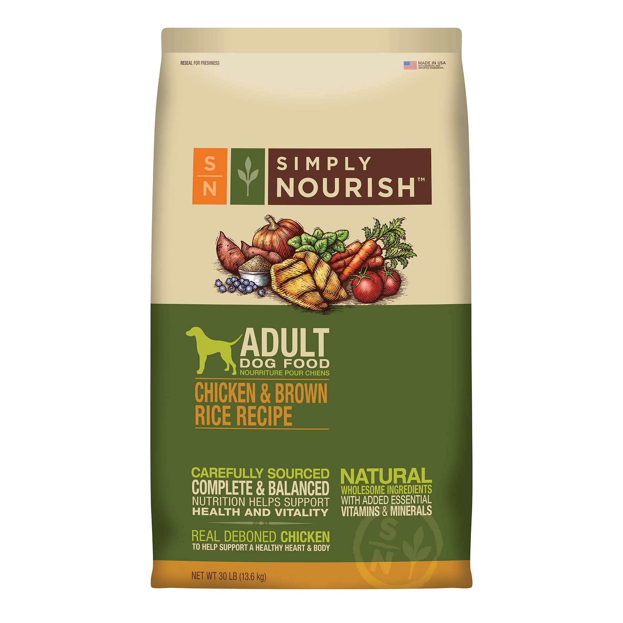 Simply Nourish Adult Dog Food Natural Chicken And Brown Rice Size 30 Lb