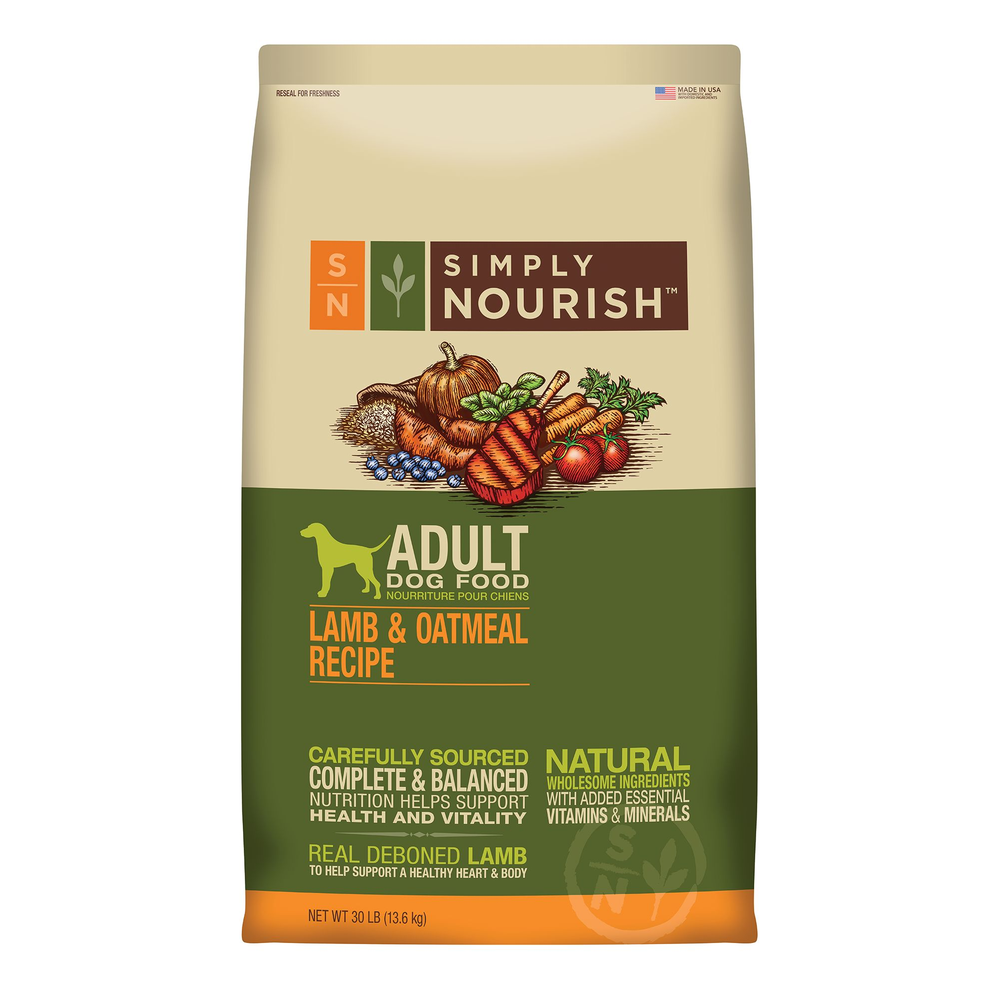 Simply Nourish Adult Dog Food Natural Lamb And Oatmeal Size 30 Lb