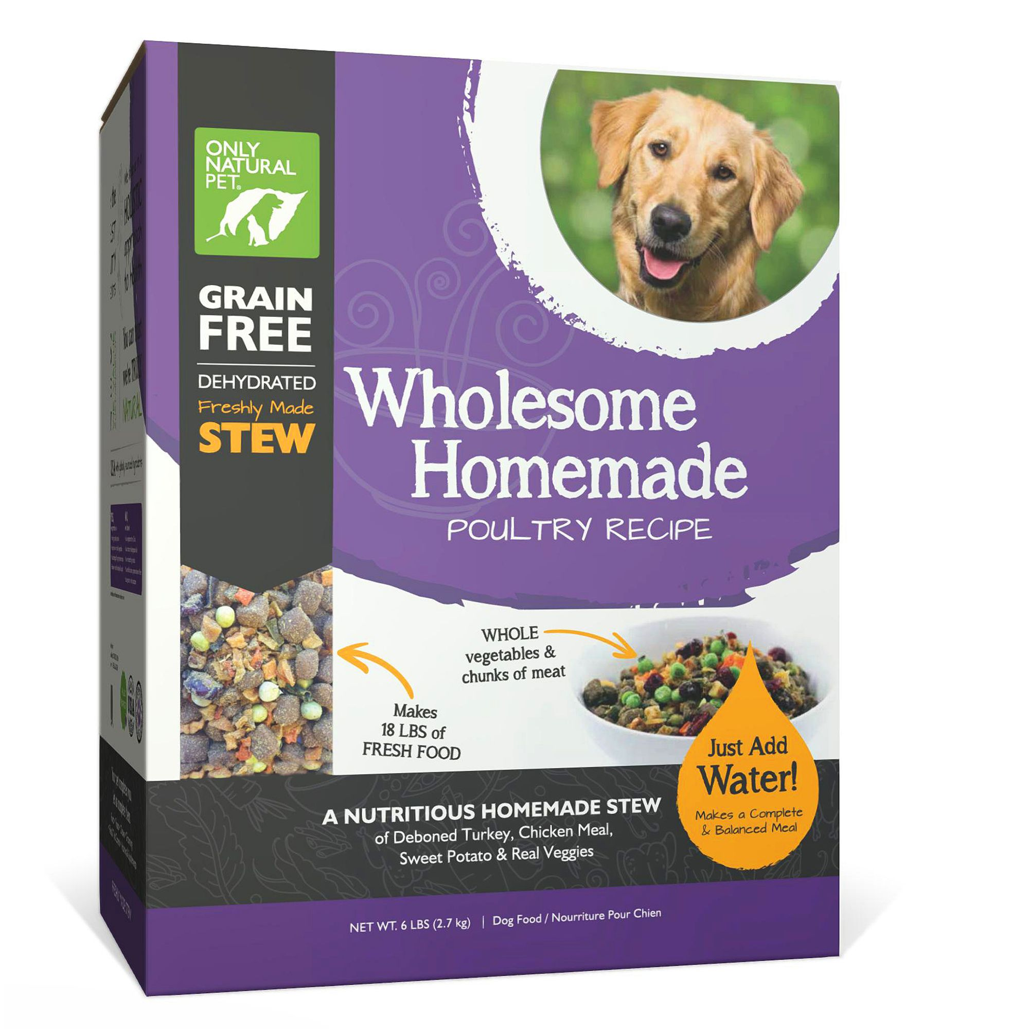 Only Natural Pet Wholesome Homemade Dog Food - Grain Free, Dehydrated, Poultry size: 6 Lb, Turkey, Chicken, Stew 5259862