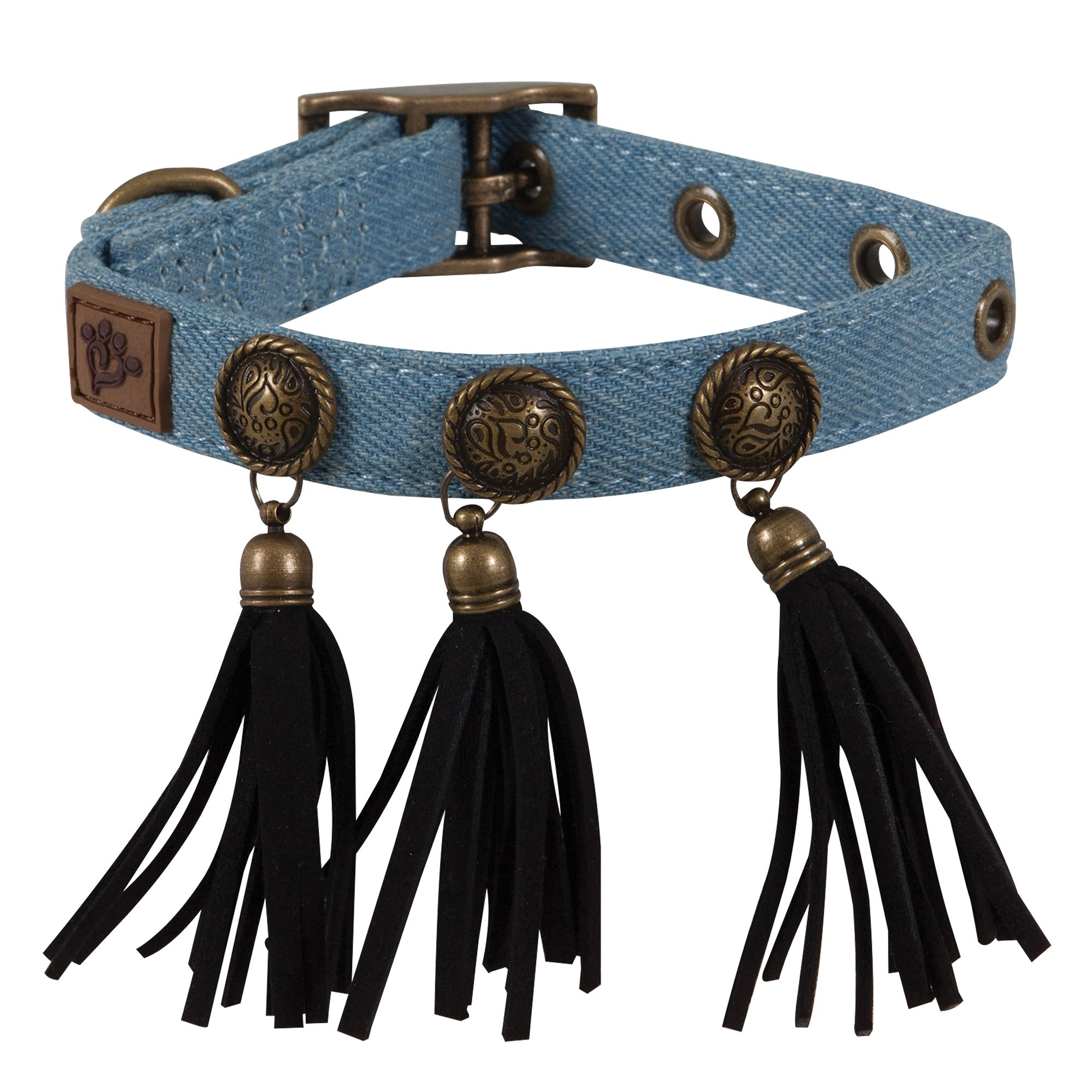 Muttnation Denim And Conchos Dog Collar Size Small Mutt Nation