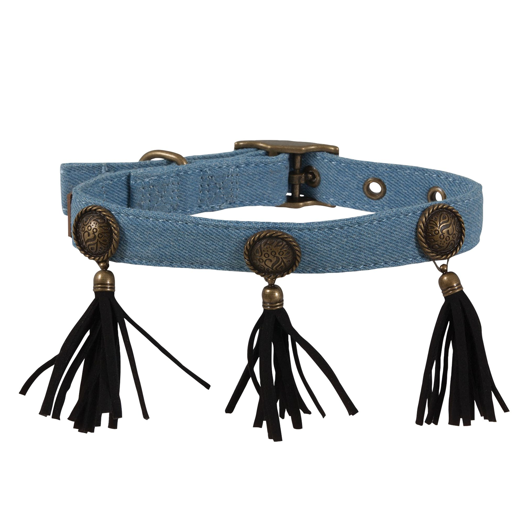 Muttnation Denim And Conchos Dog Collar Size Medium Mutt Nation
