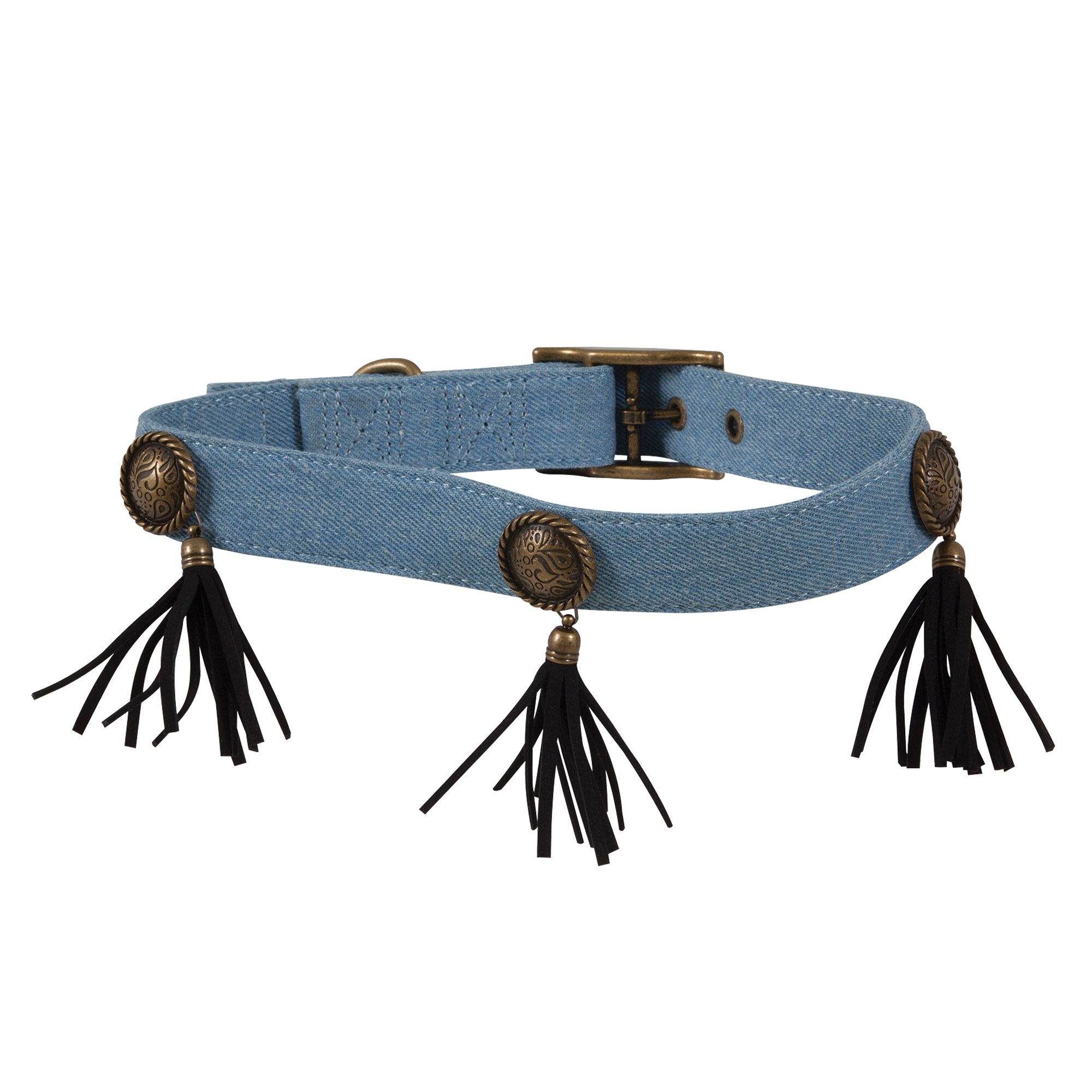 Muttnation Denim And Conchos Dog Collar Size Large Mutt Nation