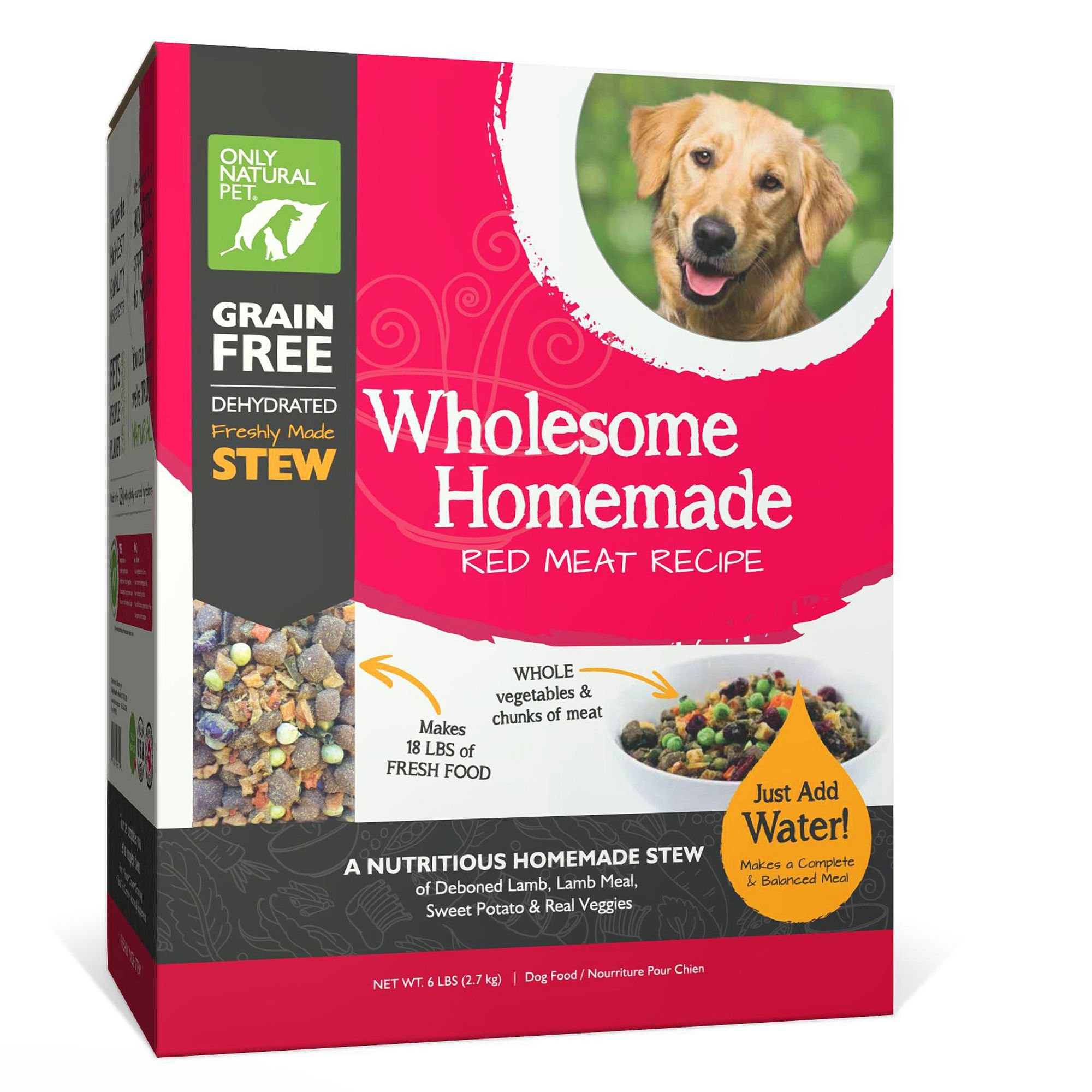Only Natural Pet Wholesome Homemade Dog Food - Grain Free, Dehydrated, Red Meat size: 6 Lb, Turkey, Chicken, Stew, Lamb and Pork 5259988