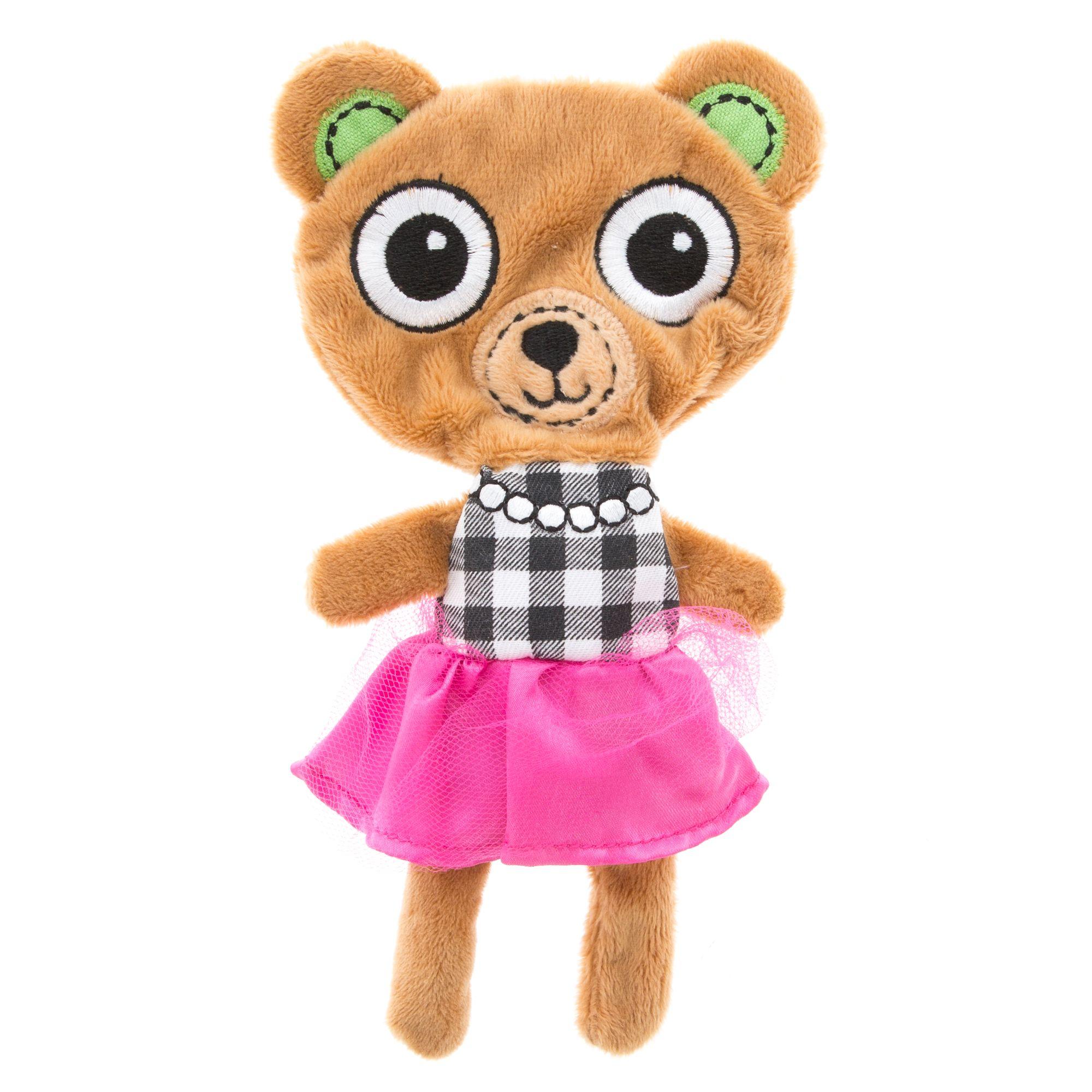 Top Paw Flattie Bear Dog Toy Plush Squeaker