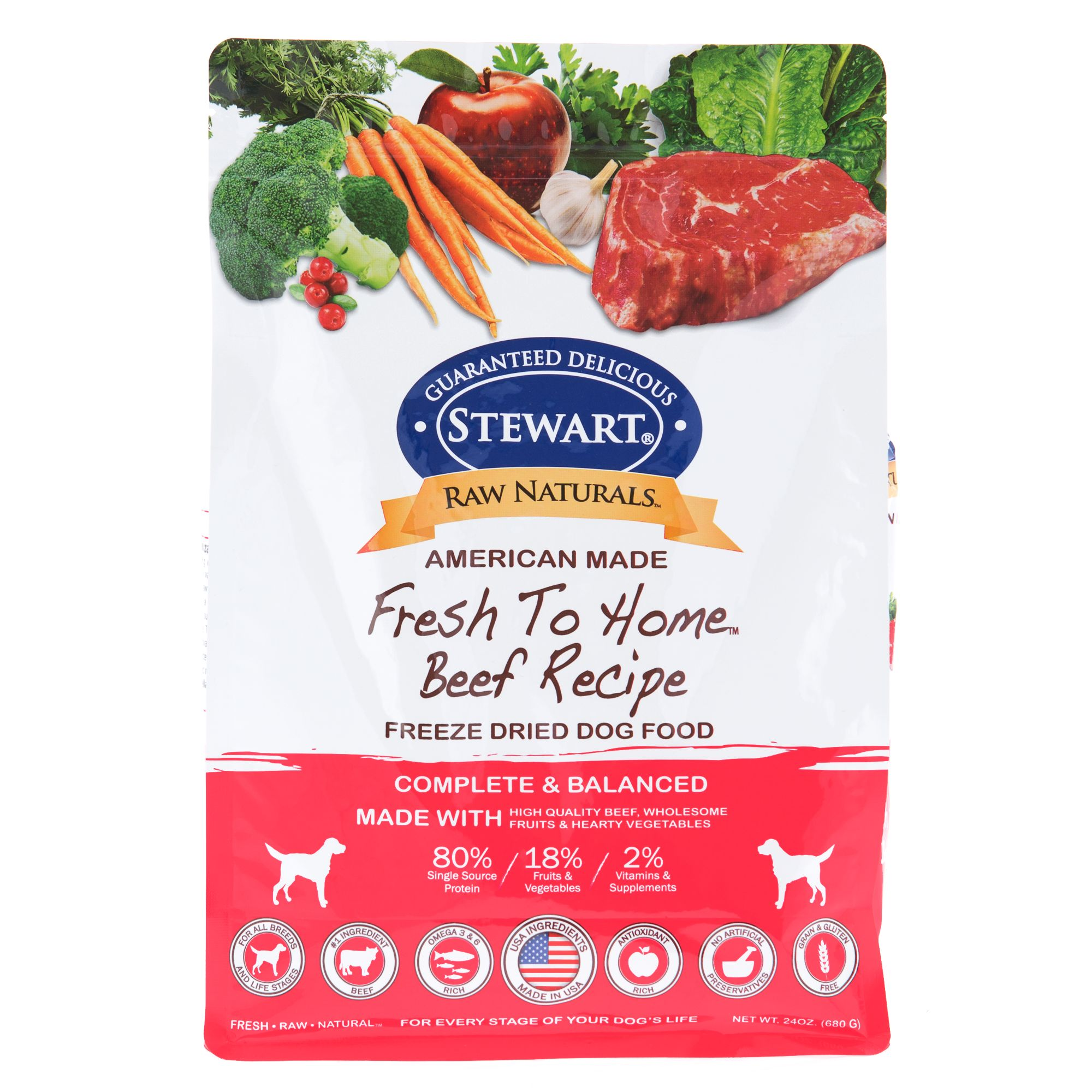 Stewart Raw Naturals Dog Food Freeze Dried Beef Size 24 Oz