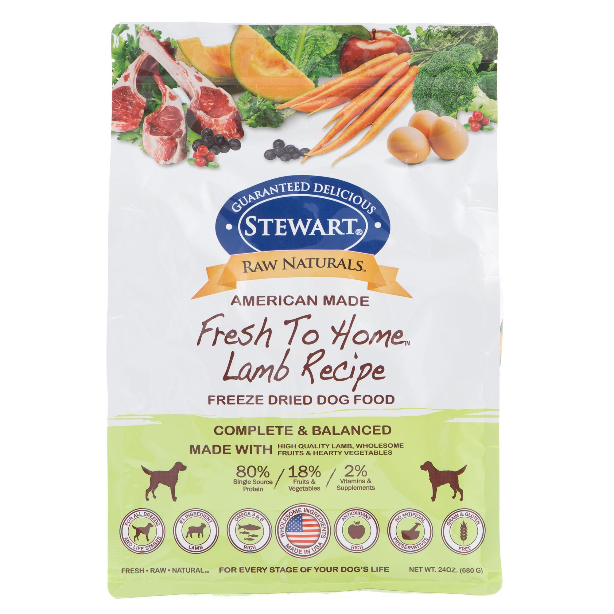 Stewart Raw Naturals Dog Food Freeze Dried Lamb Size 24 Oz