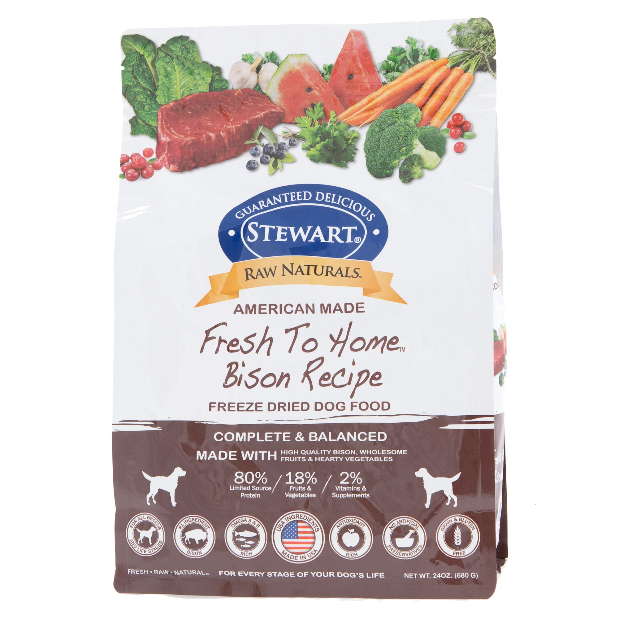 Stewart Raw Naturals Dog Food Freeze Dried Bison Size 24 Oz