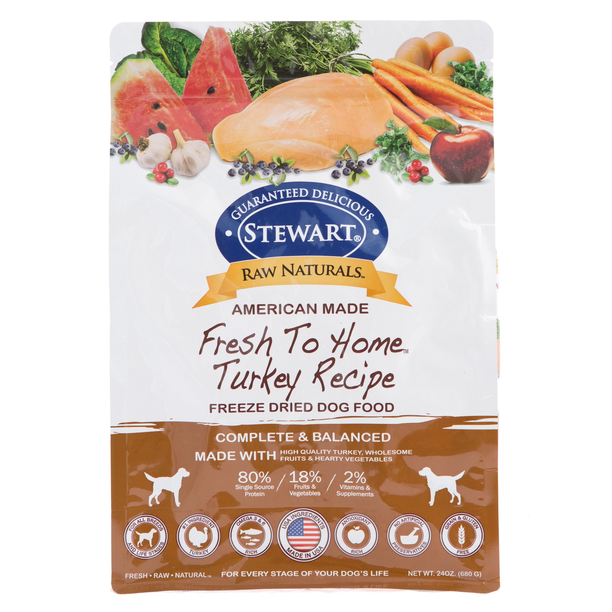 Stewart Raw Naturals Dog Food Freeze Dried Turkey Size 24 Oz