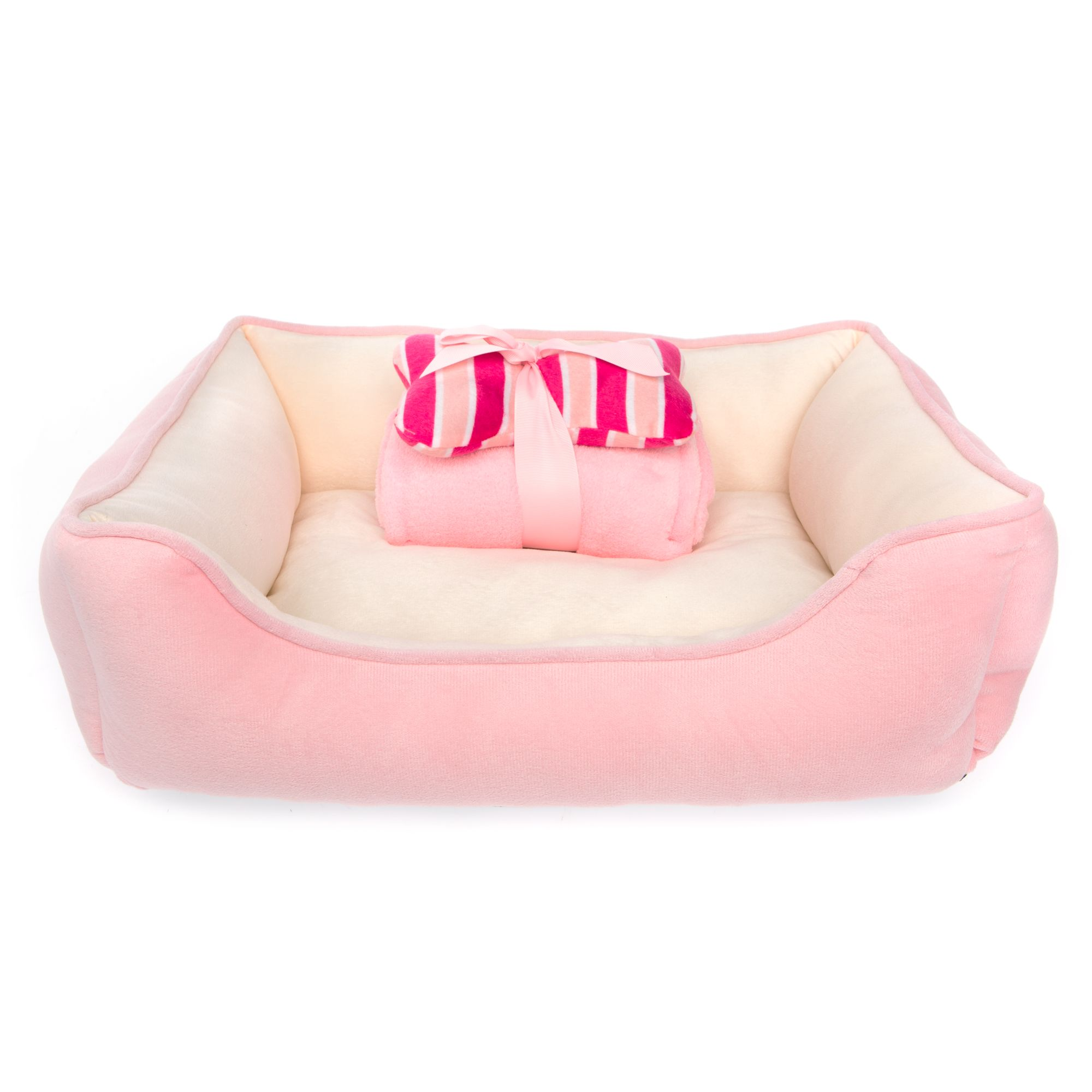 Top Paw Gift Set Solid Cuddler Dog Bed, Pink 5260684