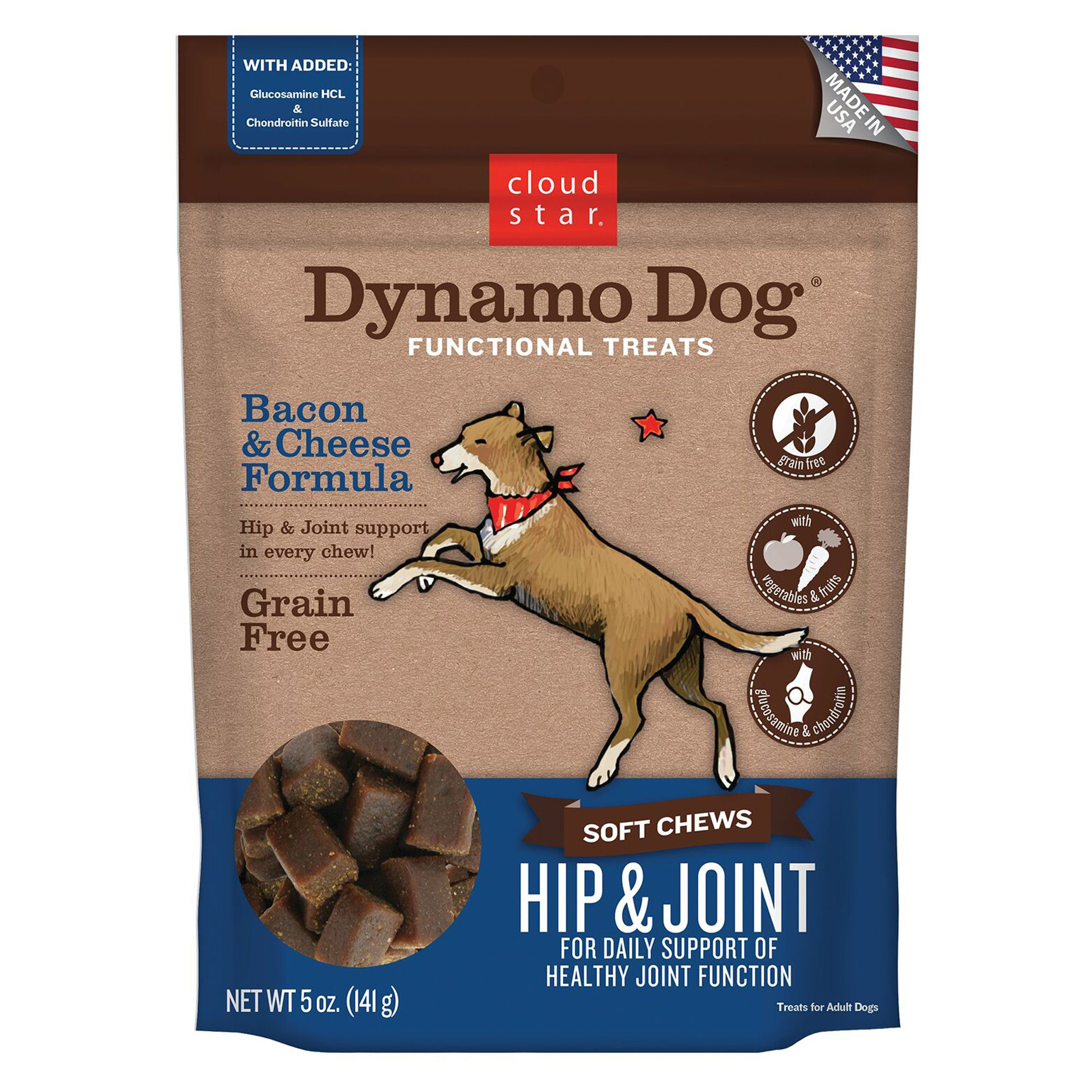 Cloud Star Dynamo Dog Hip And Joint Dog Chew Grain Free Bacon And Cheese Size 5 Oz