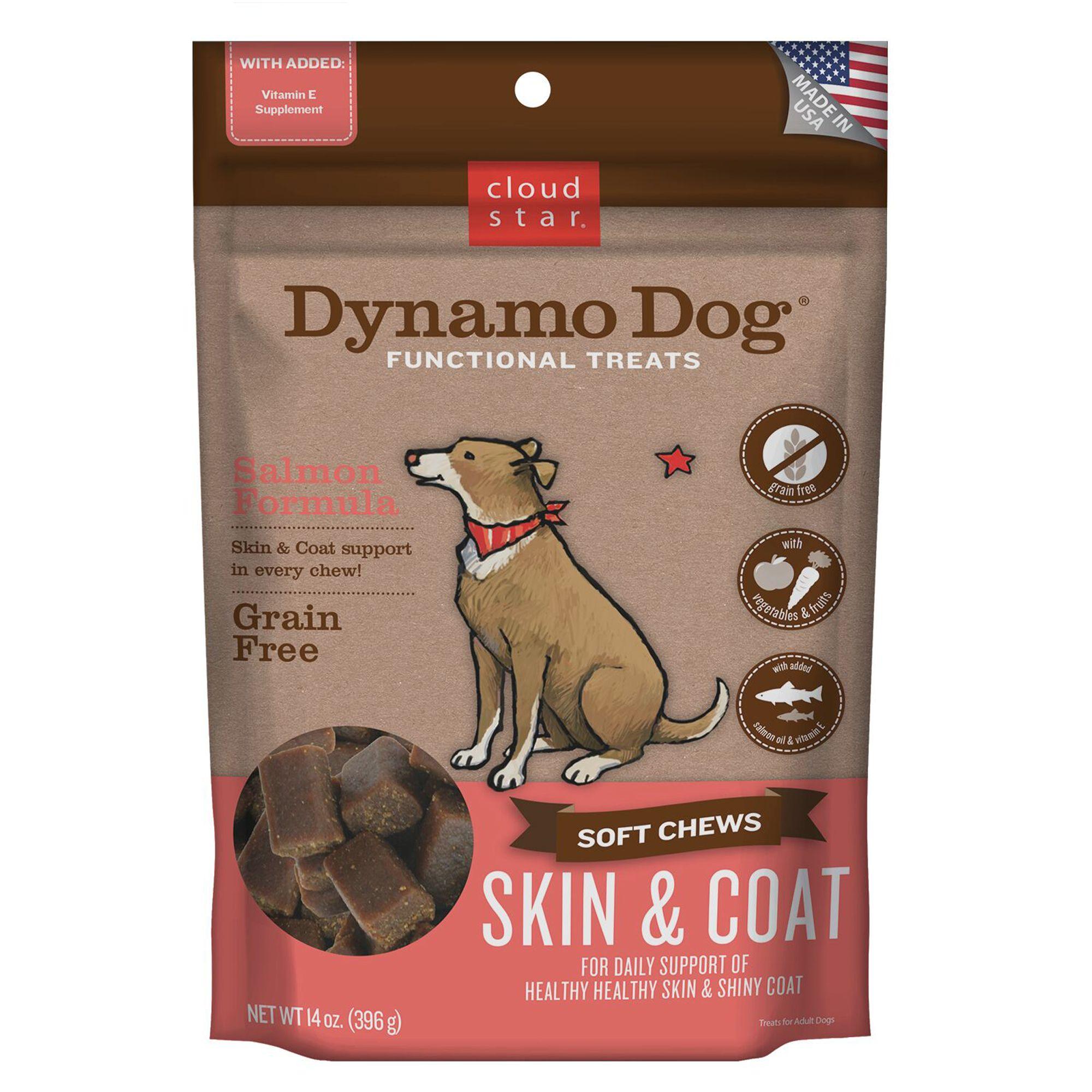 Cloud Star Dynamo Dog Skin And Coat Dog Chew Grain Free Salmon Size 14 Oz