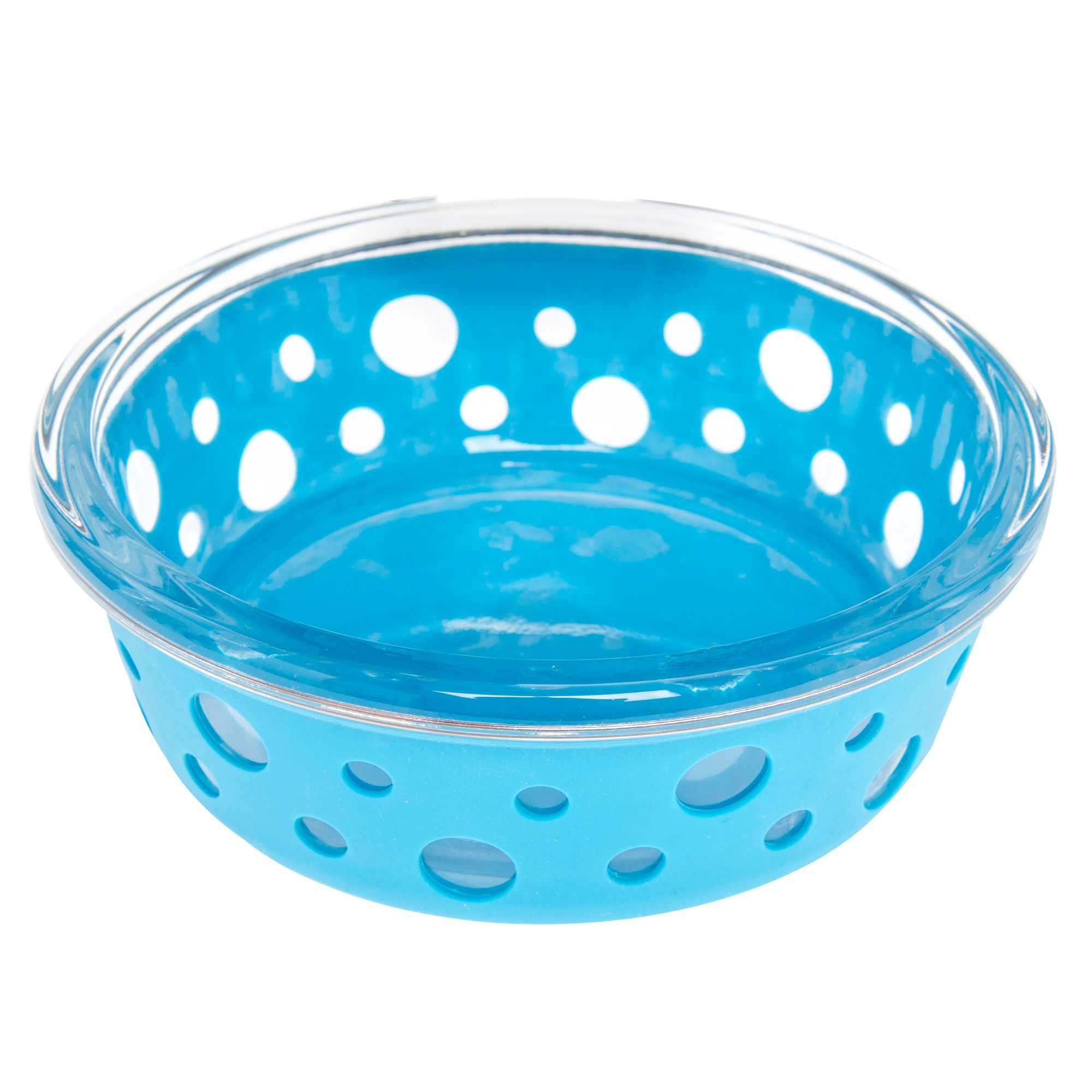 Top Paw Glass w/ Silcone Cover Dog Bowl, Blue 5261369