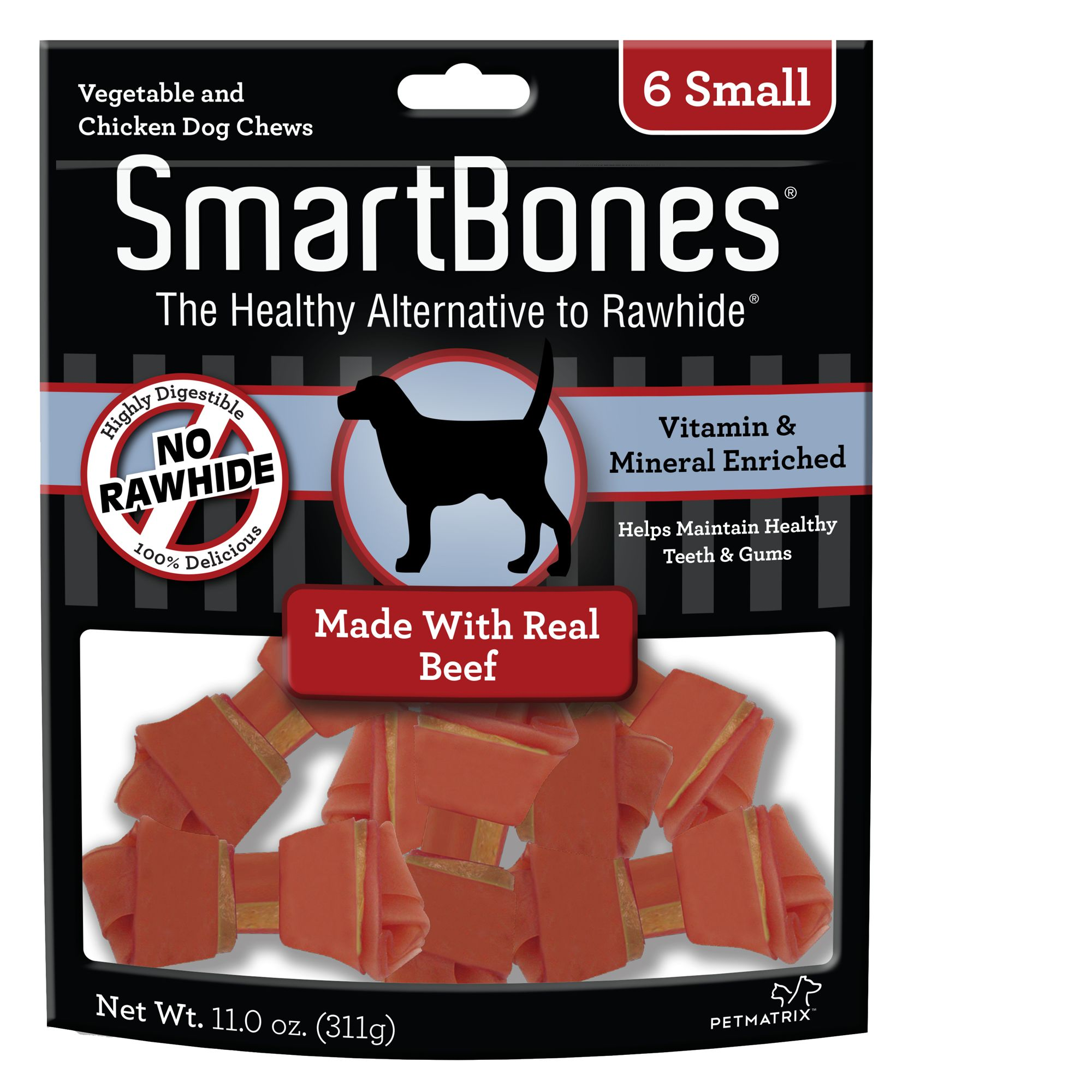 SmartBones® Small Chews Dog Treat - Beef size: 6 Count
