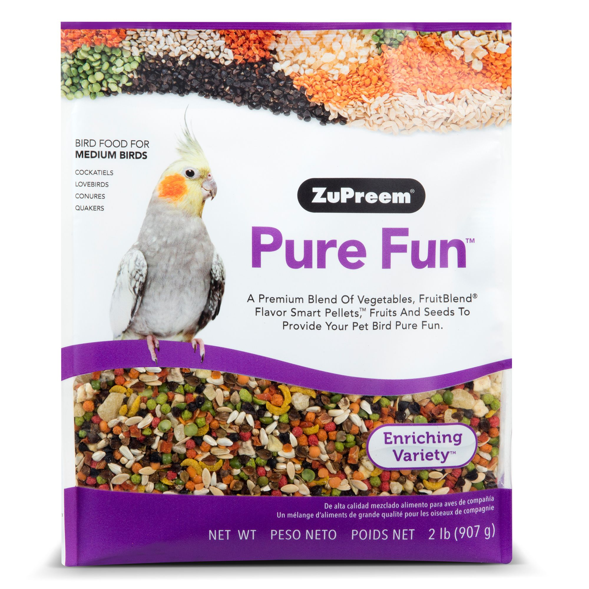 ZuPreem Pure Fun Enriching Variety Mix Medium Bird Food size: 2 Lb, Dry pellets, fruits, vegetables, seeds, Adult, Grains 5261587