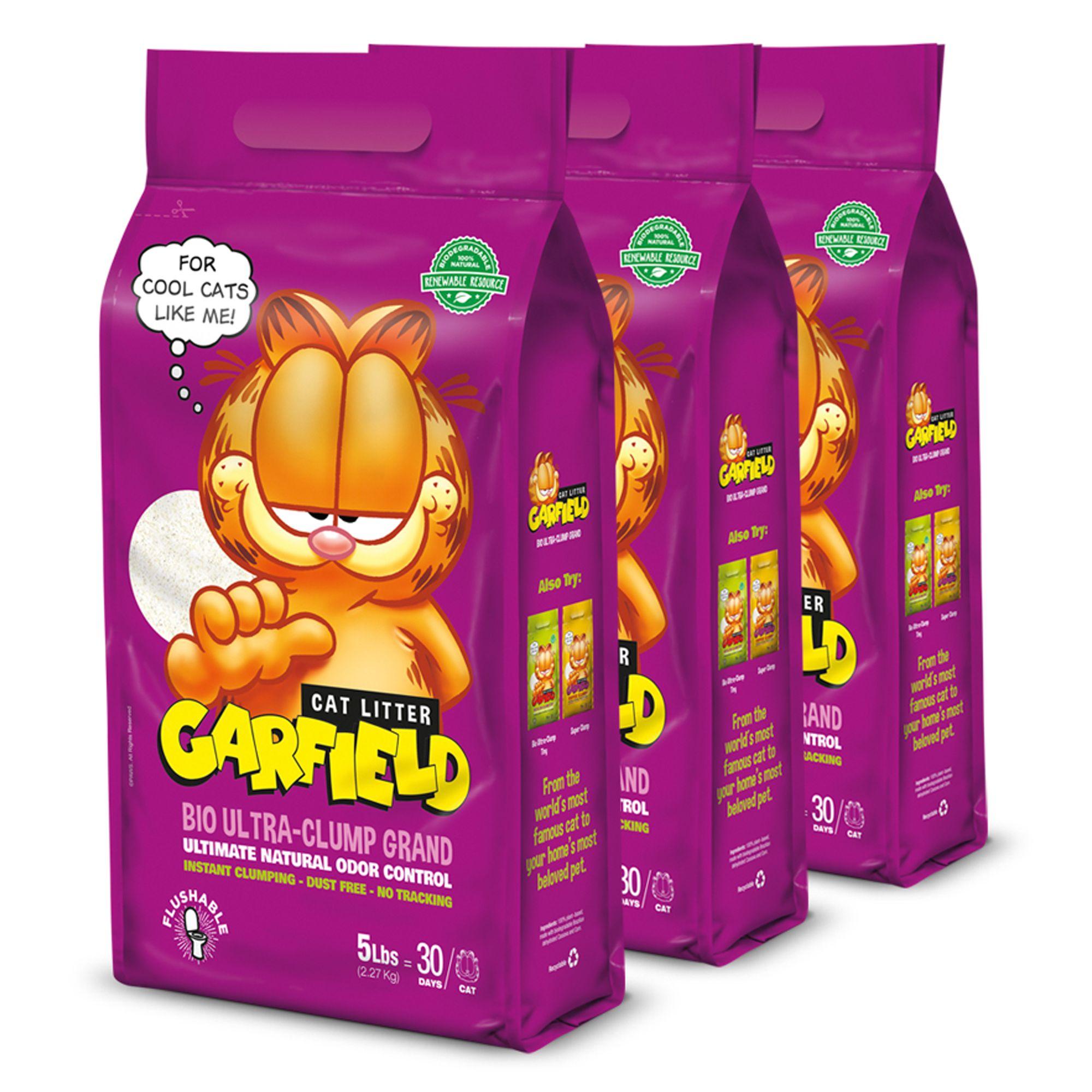 Garfield Bio Ultra Clump Grand Cat Litter Natural Clumping 3 Pack Size 15 Lb