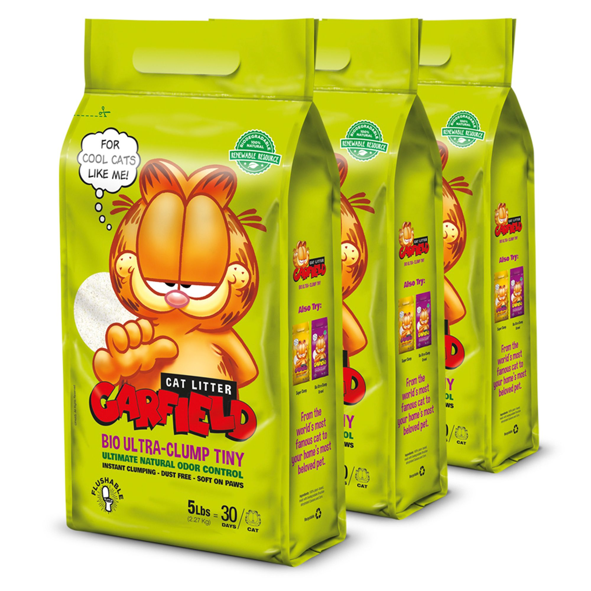 Garfield Bio Ultra Clump Tiny Cat Litter Natural Clumping 3 Pack Size 15 Lb