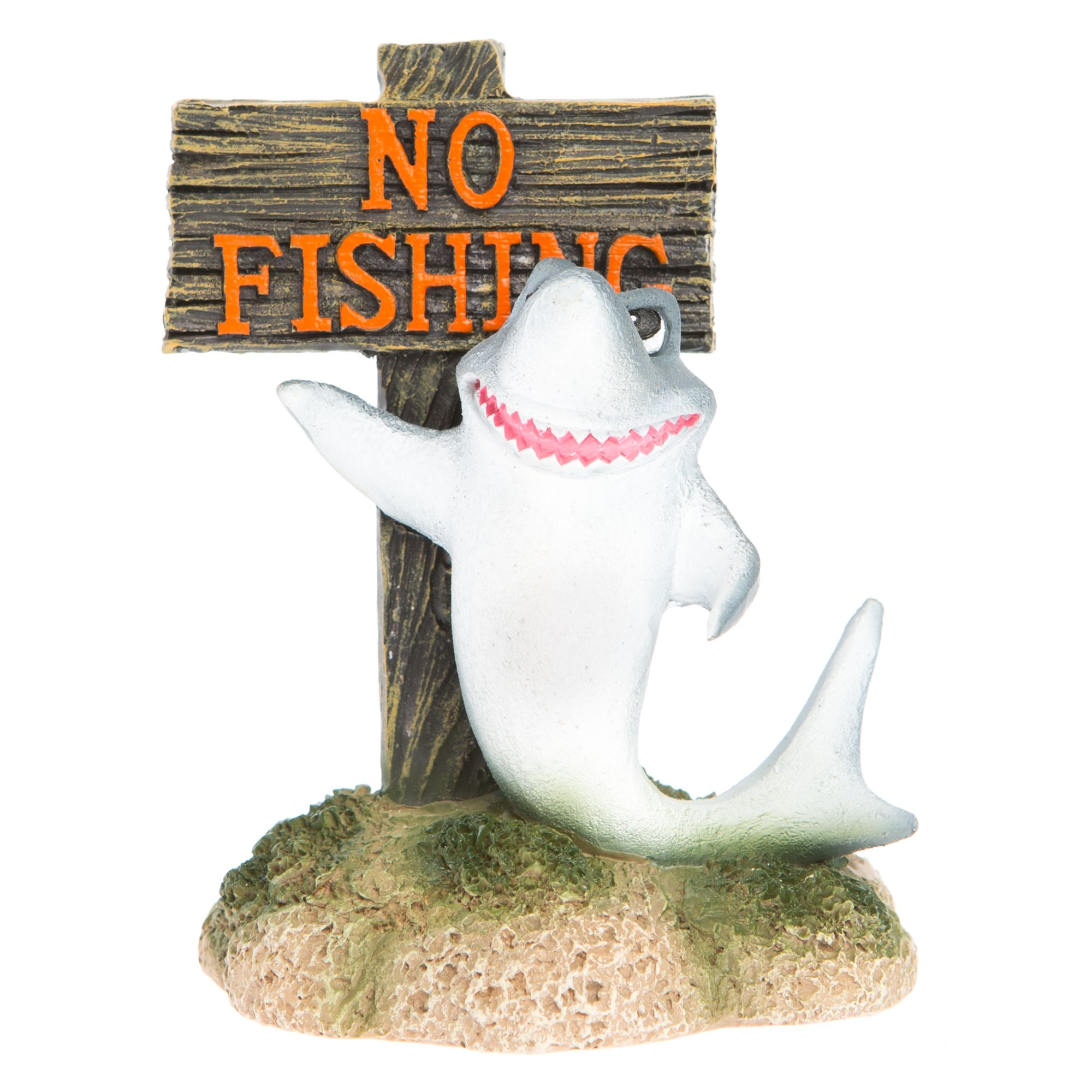 Top Fin No Fishing With Shark Aquarium Ornament Multi Color
