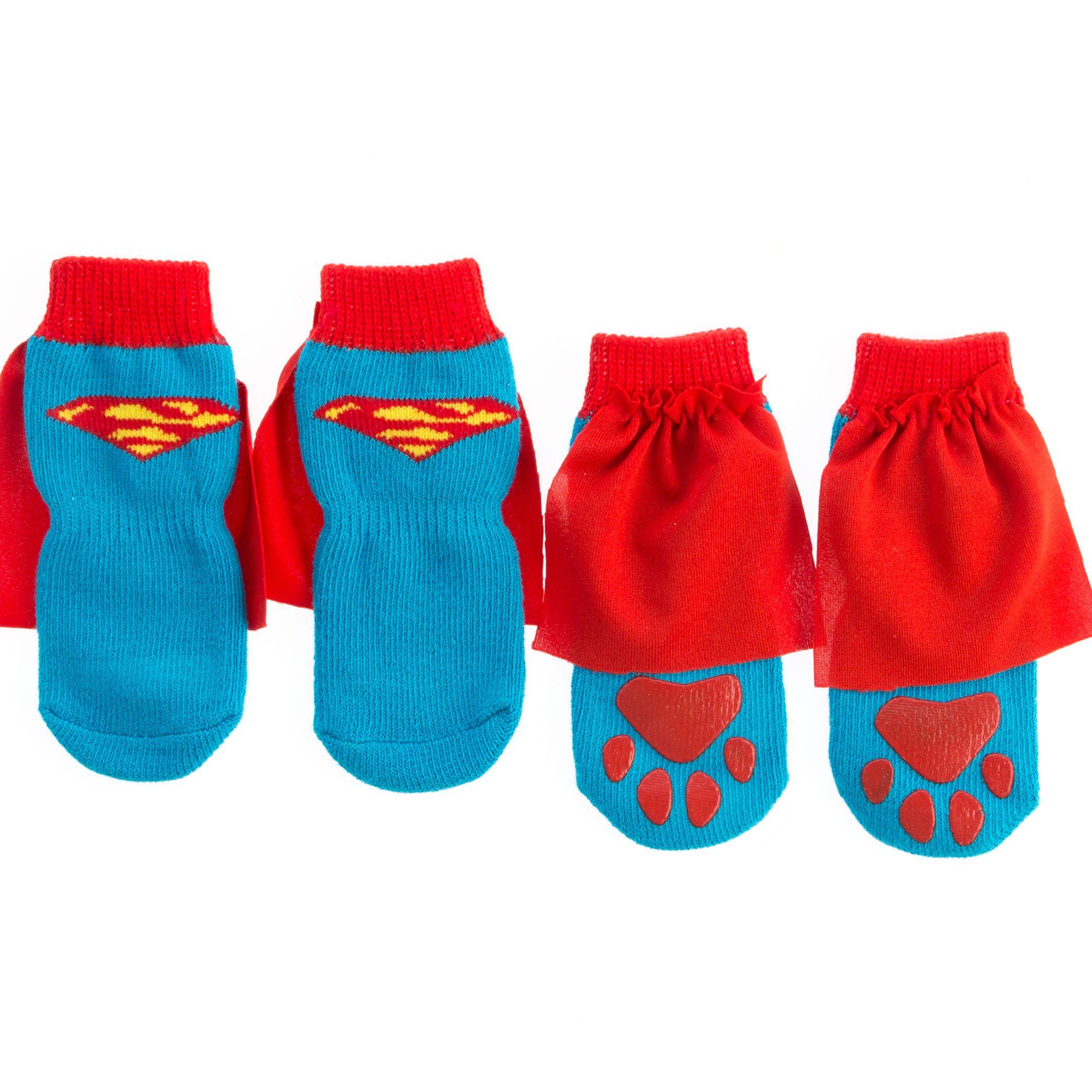Dc Comics Superman Cape Dog Socks Size Large
