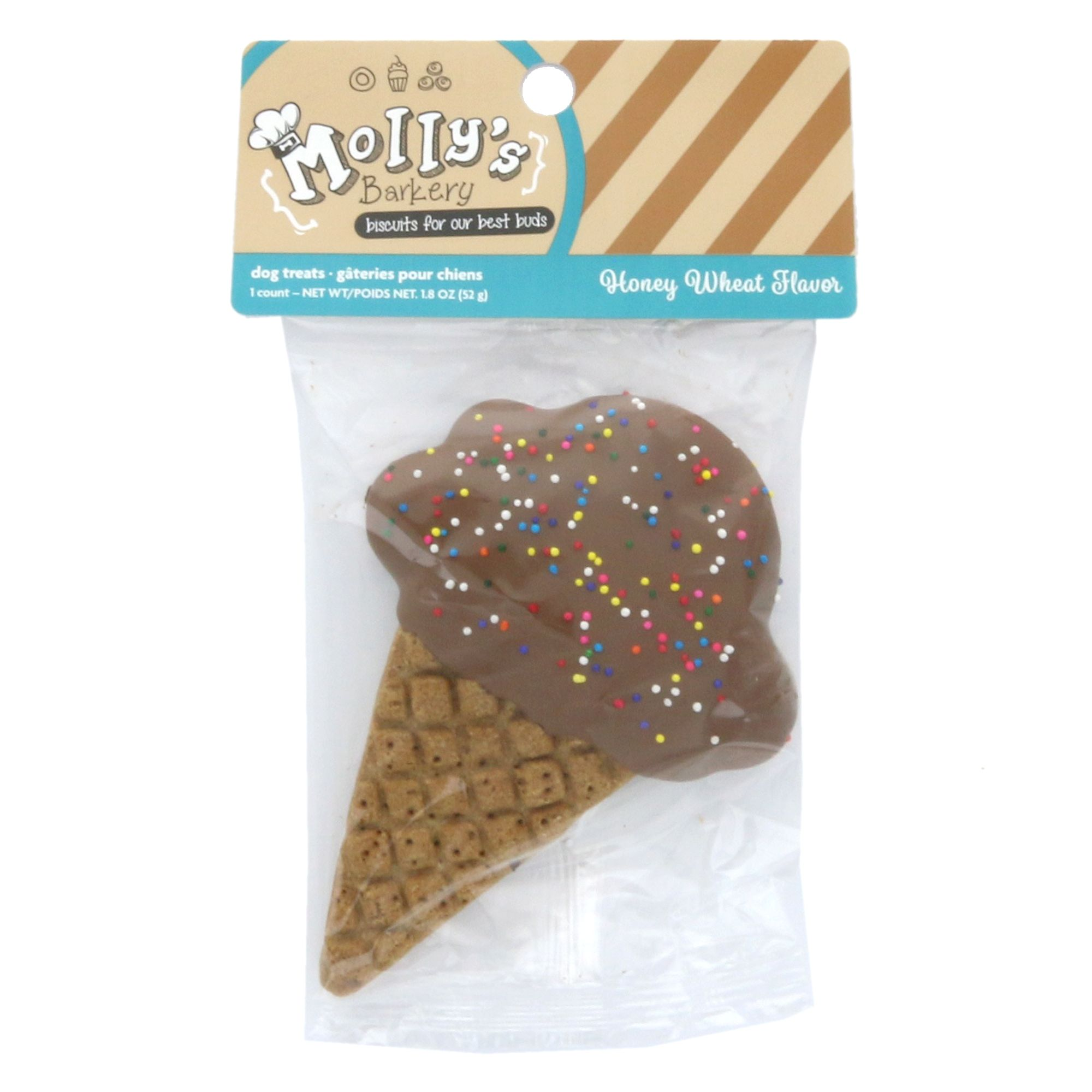 Mollys Barkery Ice Cream Cone Cookie Dog Treat Honey Wheat