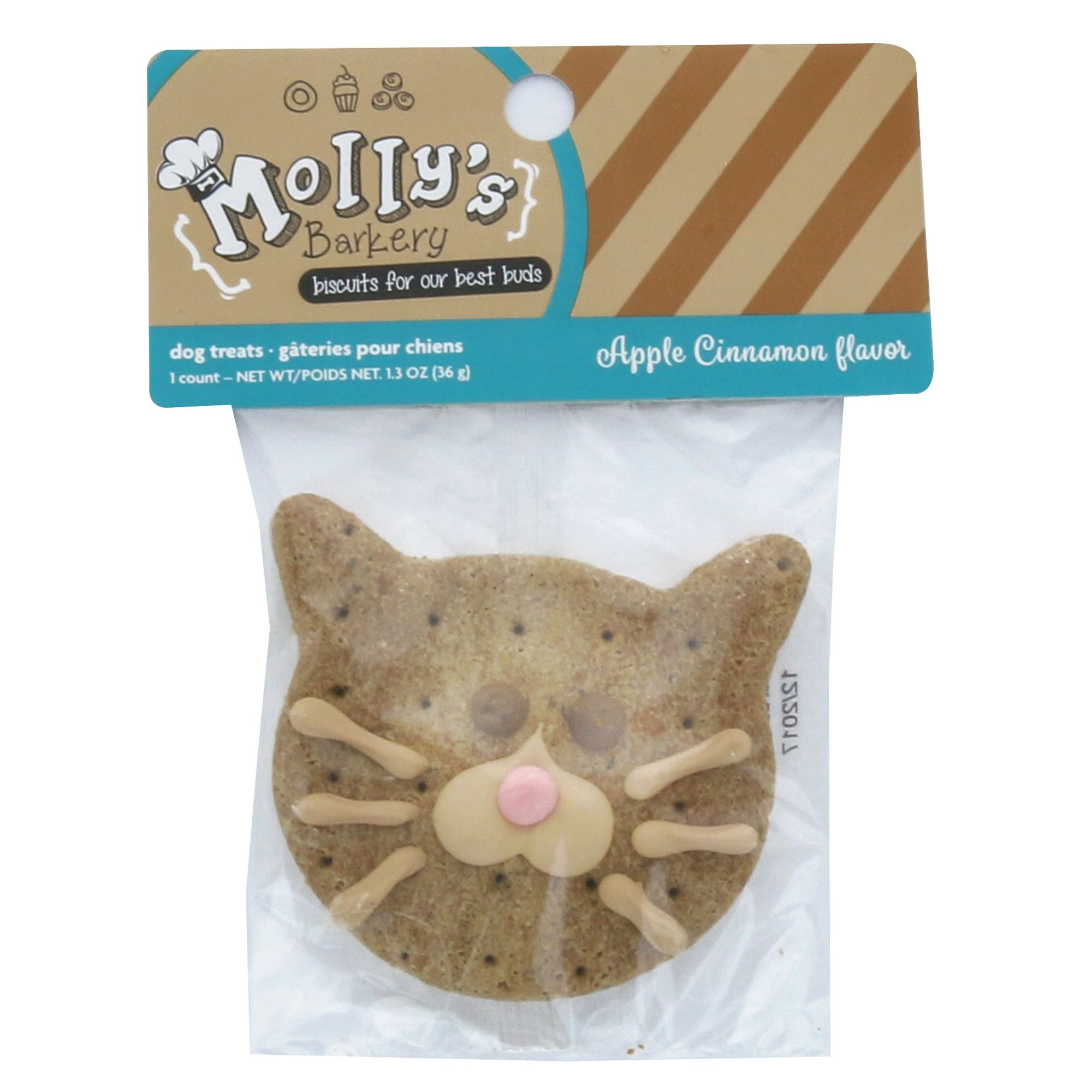 Mollys Barkery Cat Face Cookie Dog Treat Apple Cinnamon