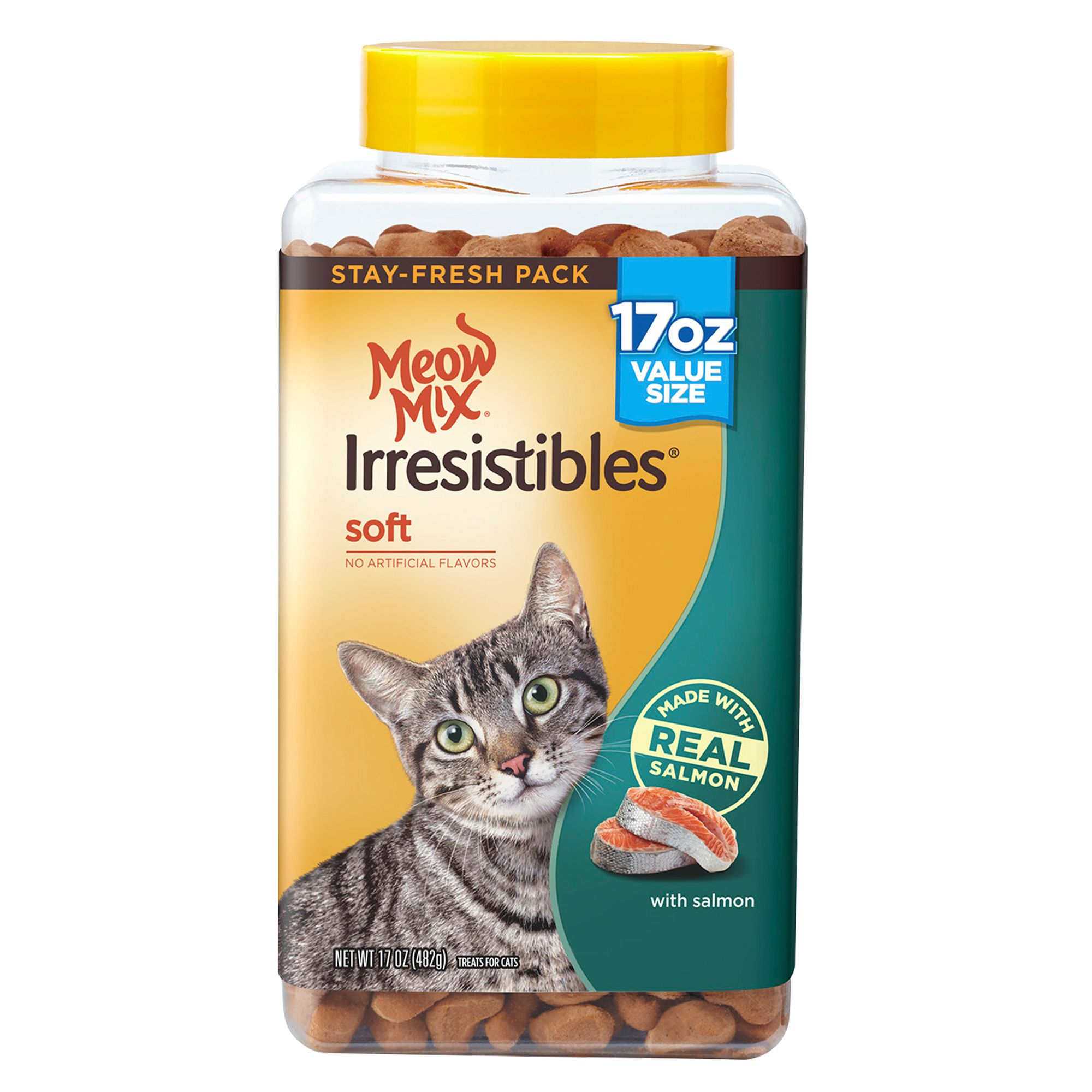 Meow Mix Irresistibles Soft Cat Treat - Salmon size: 17 Oz, Adult, Chicken 5263589