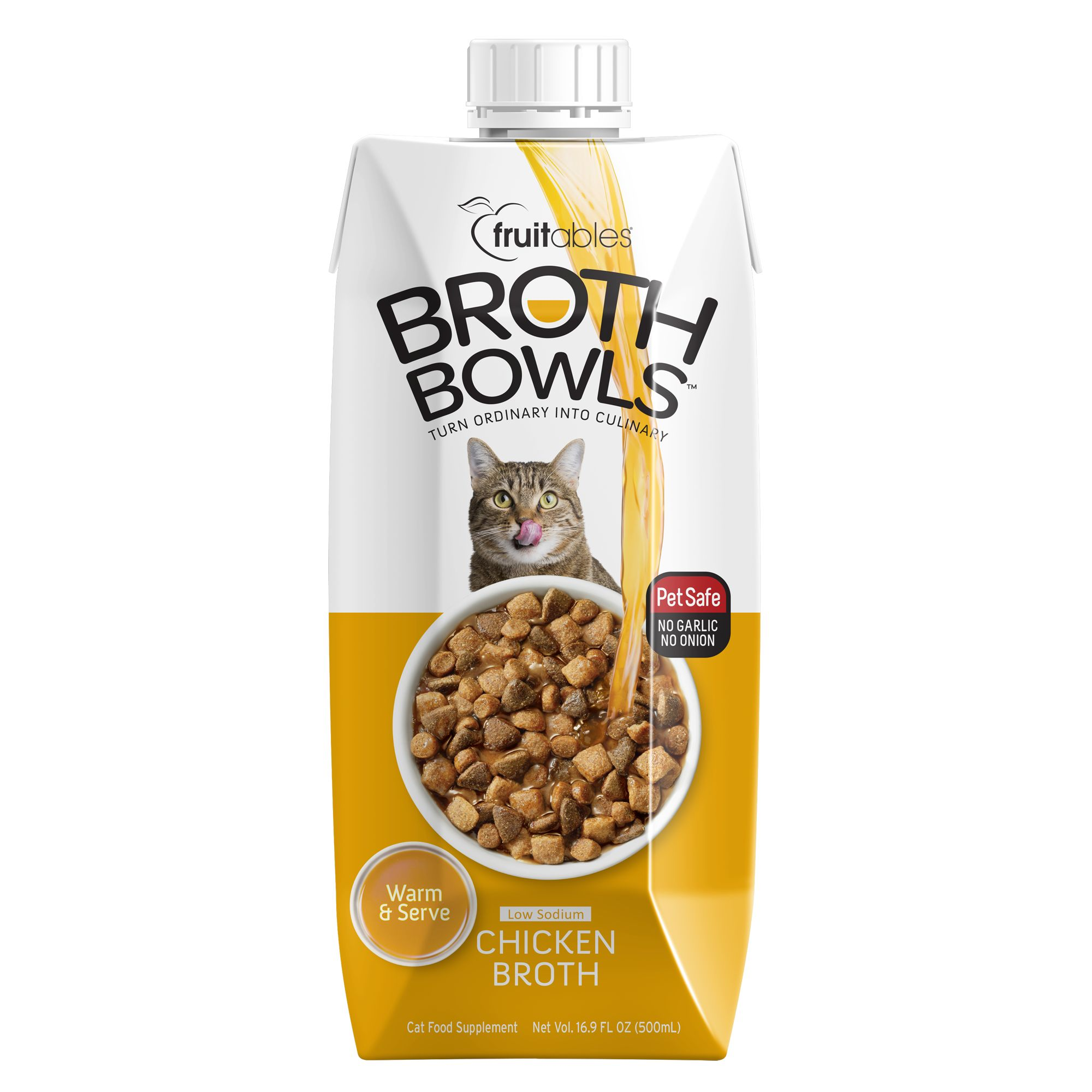 Fruitables Broth Bowls Cat Food Topper Chicken Size 16.9 Oz